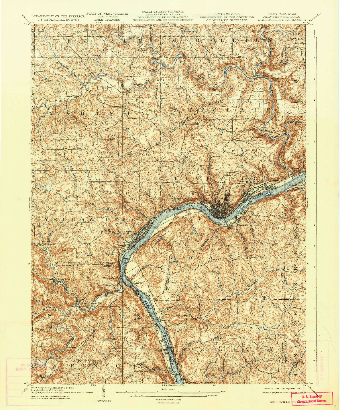 USGS 1:62500-SCALE QUADRANGLE FOR WELLSVILLE, WV 1904