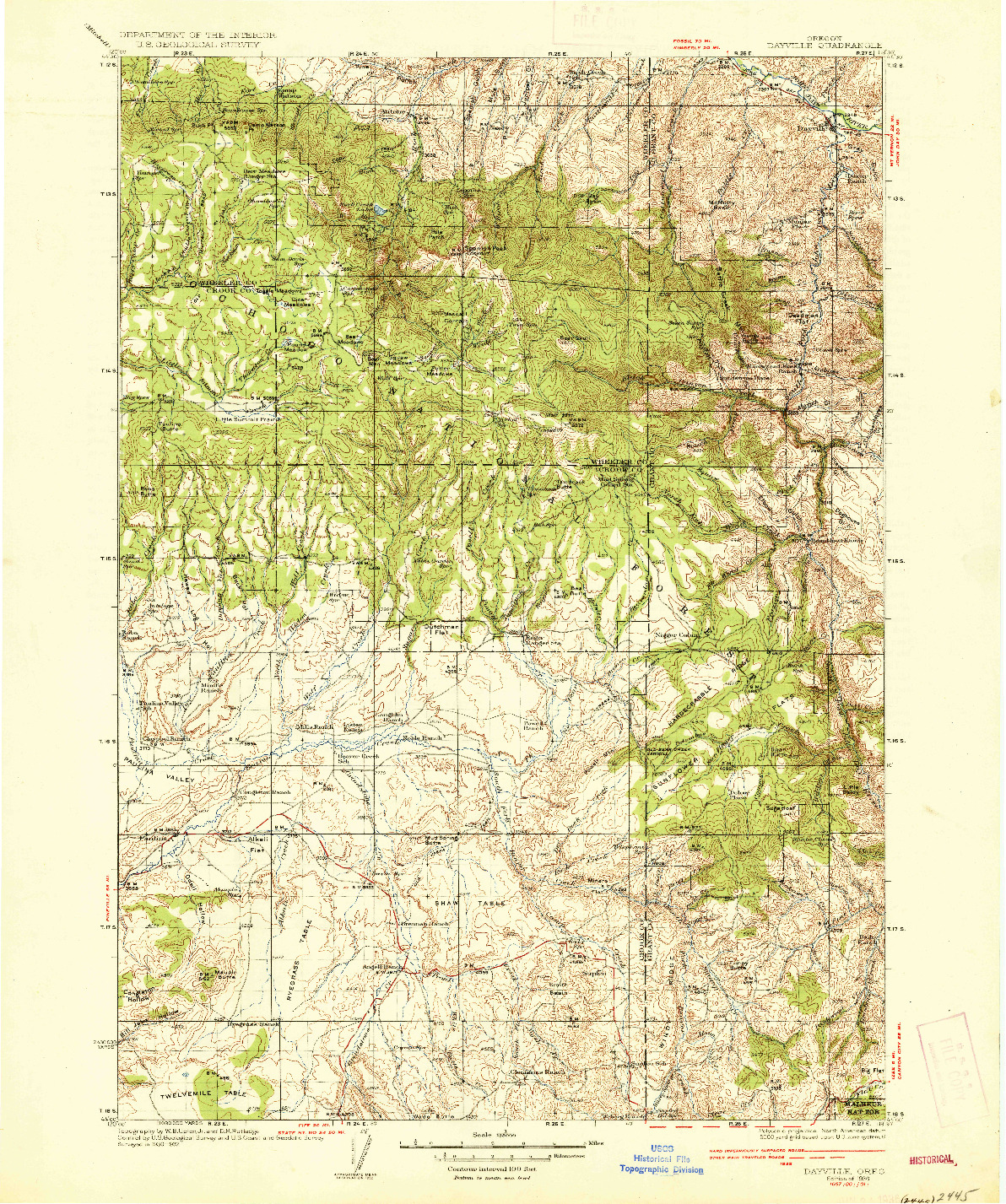 USGS 1:125000-SCALE QUADRANGLE FOR DAYVILLE, OR 1936