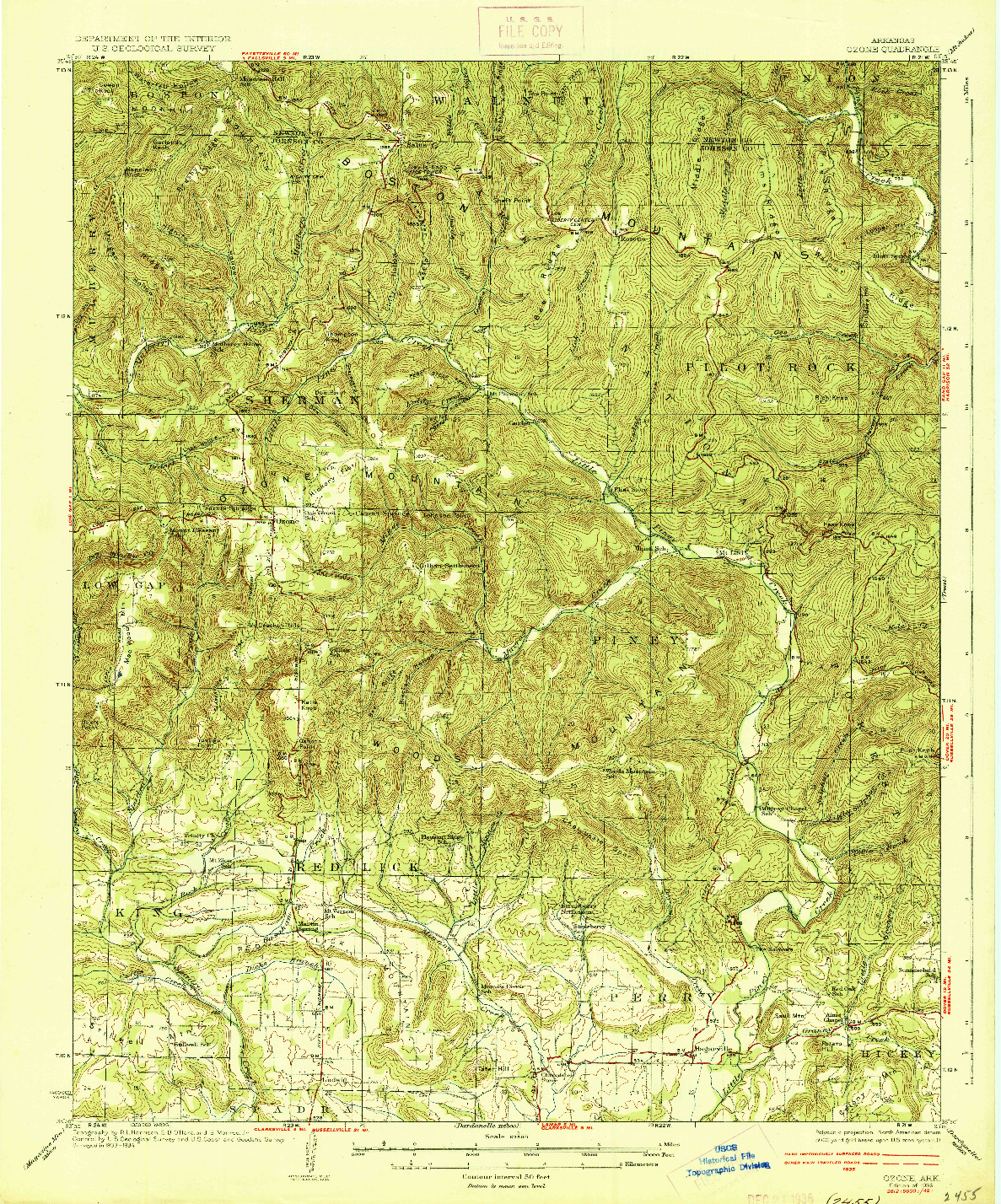 USGS 1:62500-SCALE QUADRANGLE FOR OZONE, AR 1936