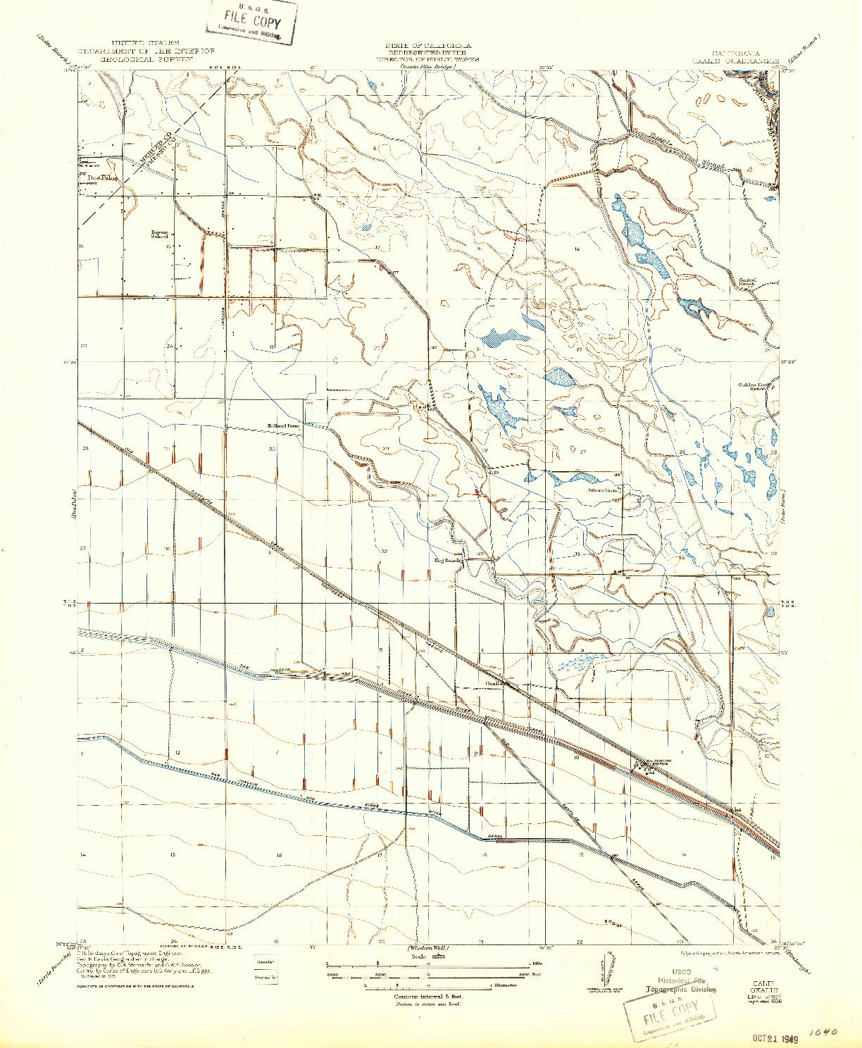 USGS 1:31680-SCALE QUADRANGLE FOR OXALIS, CA 1922