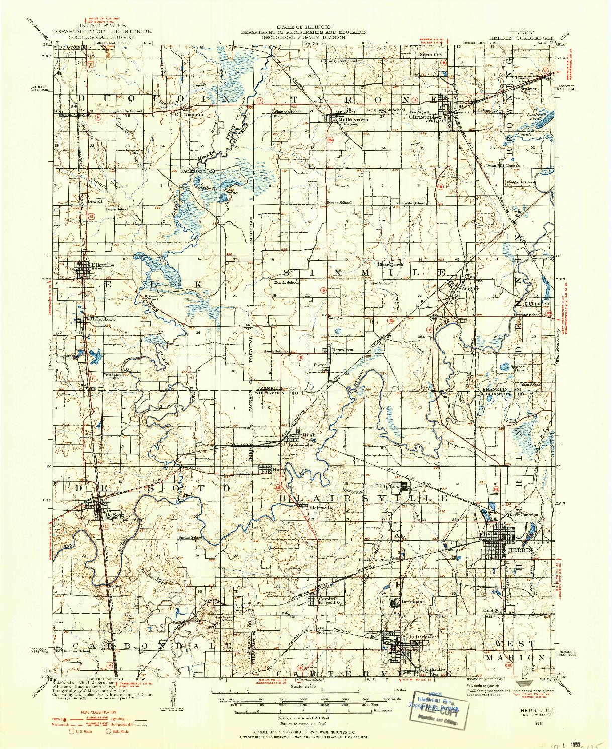USGS 1:62500-SCALE QUADRANGLE FOR HERRIN, IL 1936