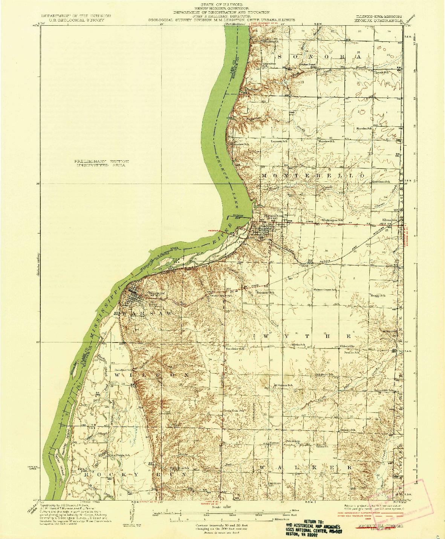 USGS 1:62500-SCALE QUADRANGLE FOR KEOKUK, IL 1936