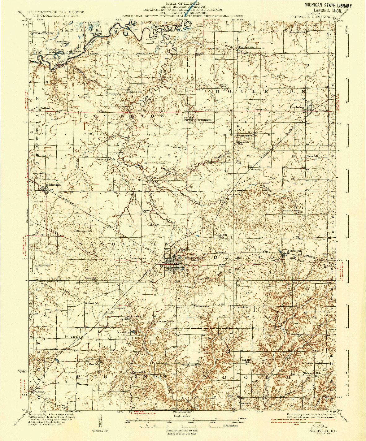 USGS 1:62500-SCALE QUADRANGLE FOR NASHVILLE, IL 1936