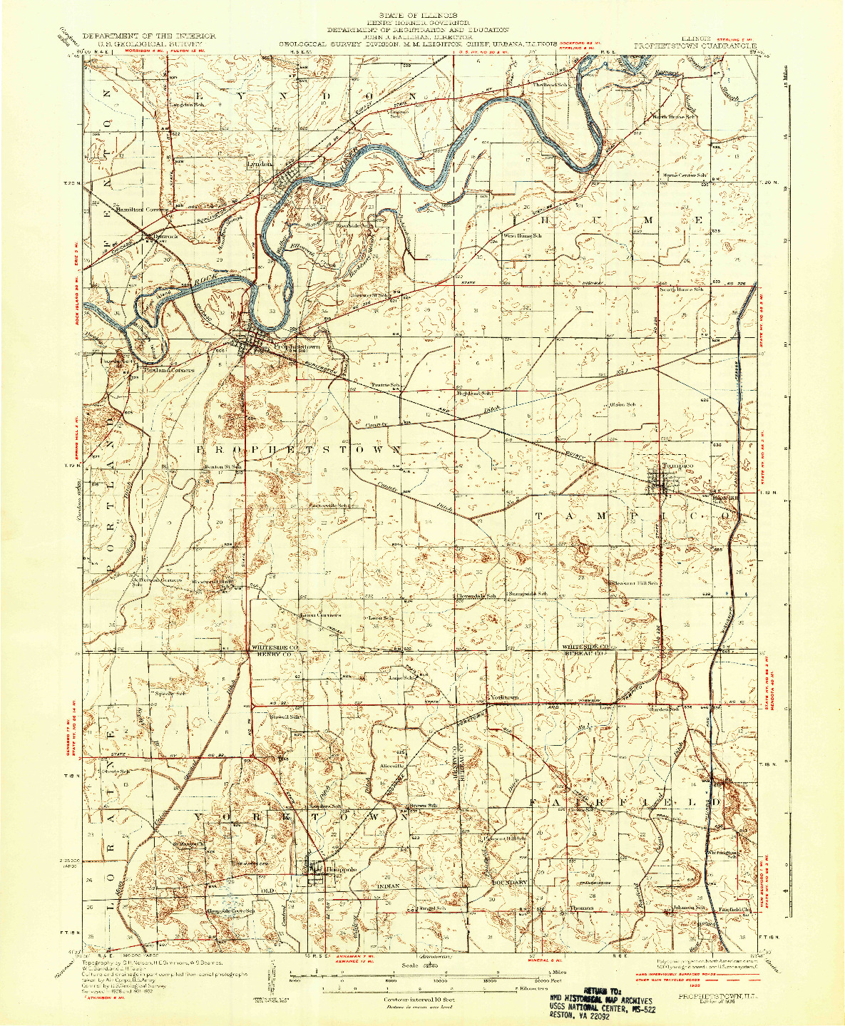 USGS 1:62500-SCALE QUADRANGLE FOR PROPHETSTOWN, IL 1936