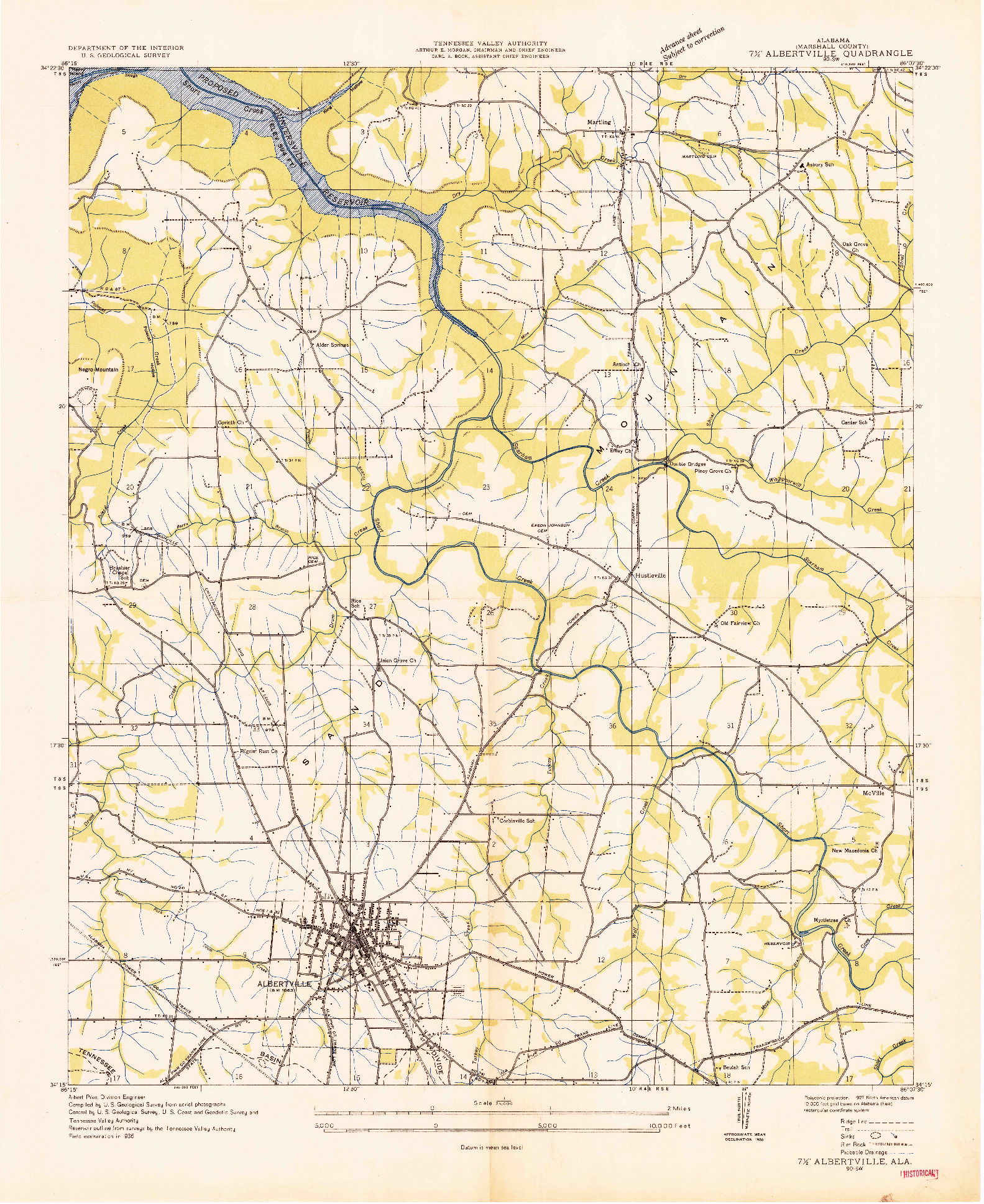 USGS 1:24000-SCALE QUADRANGLE FOR ALBERTVILLE, AL 1936