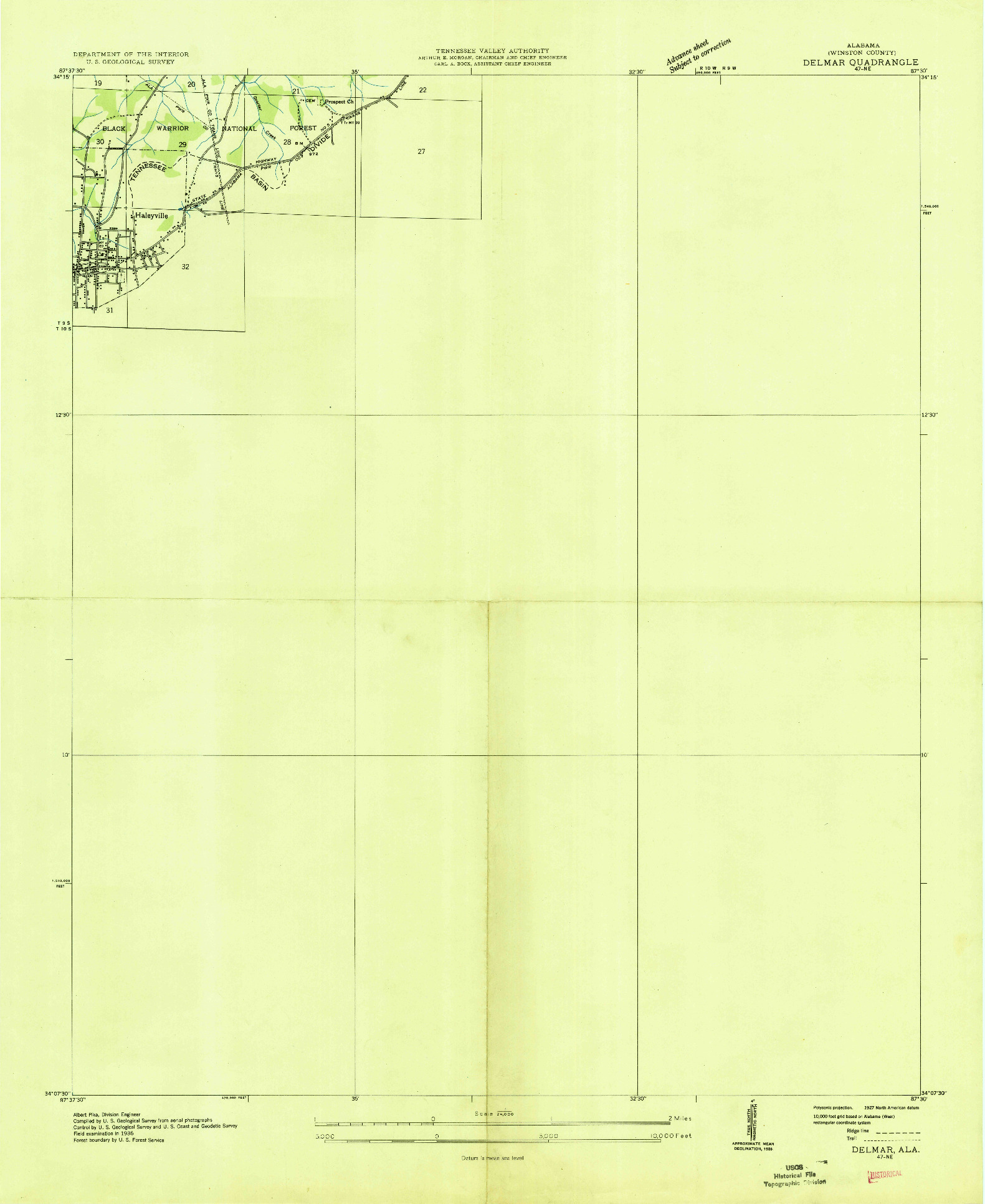 USGS 1:24000-SCALE QUADRANGLE FOR DELMAR, AL 1936