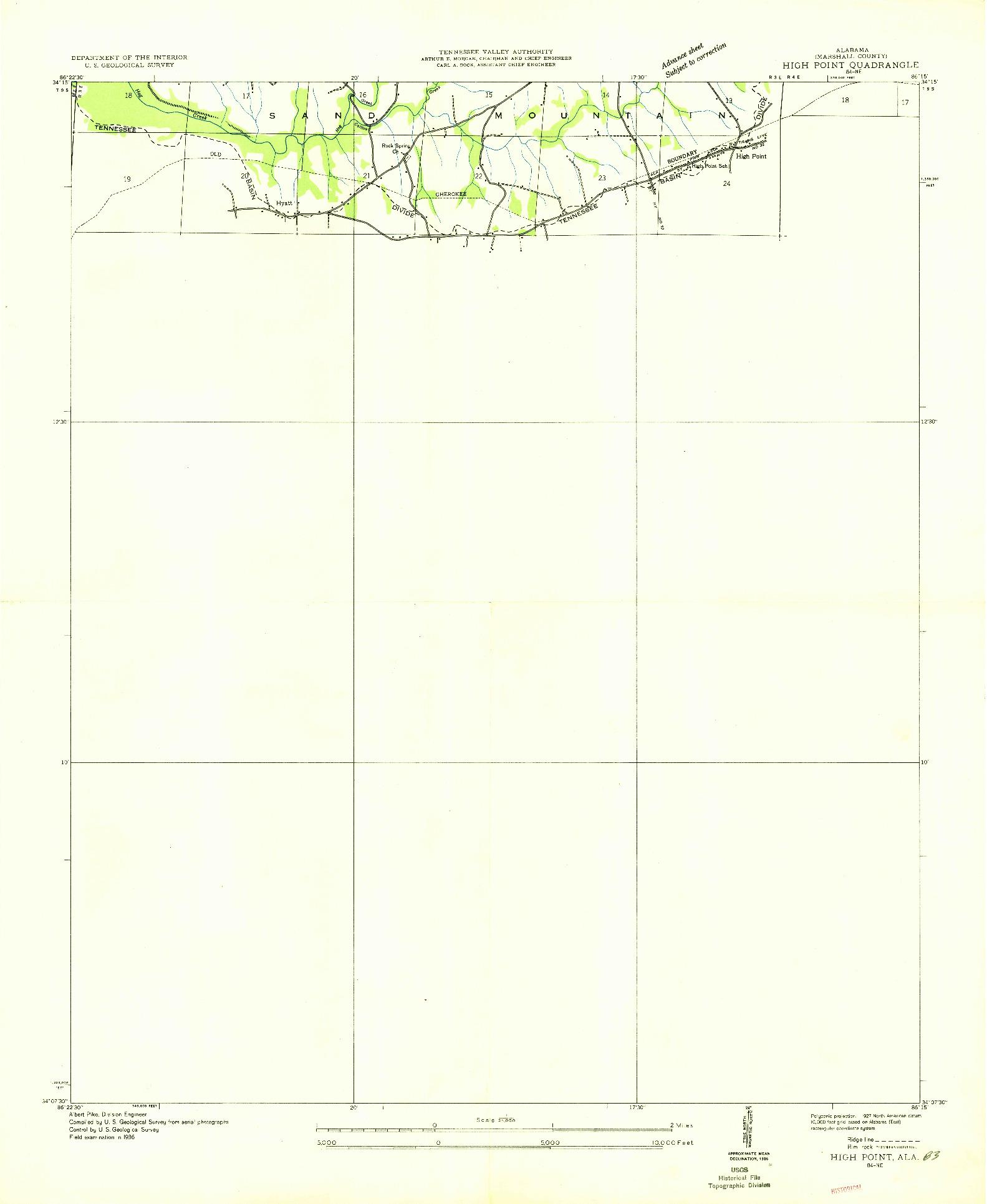 USGS 1:24000-SCALE QUADRANGLE FOR HIGH POINT, AL 1936