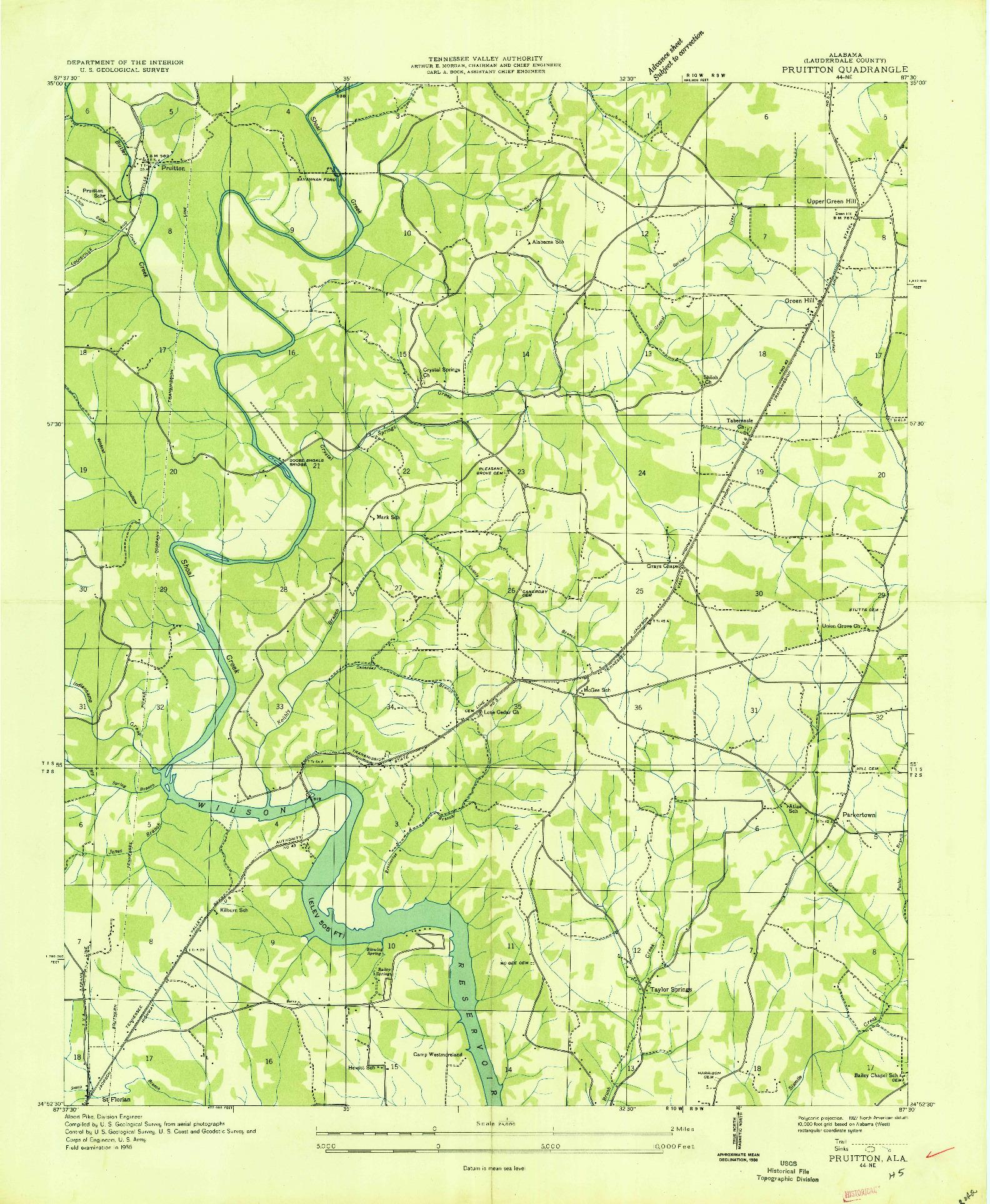 USGS 1:24000-SCALE QUADRANGLE FOR PRUITTON, AL 1936