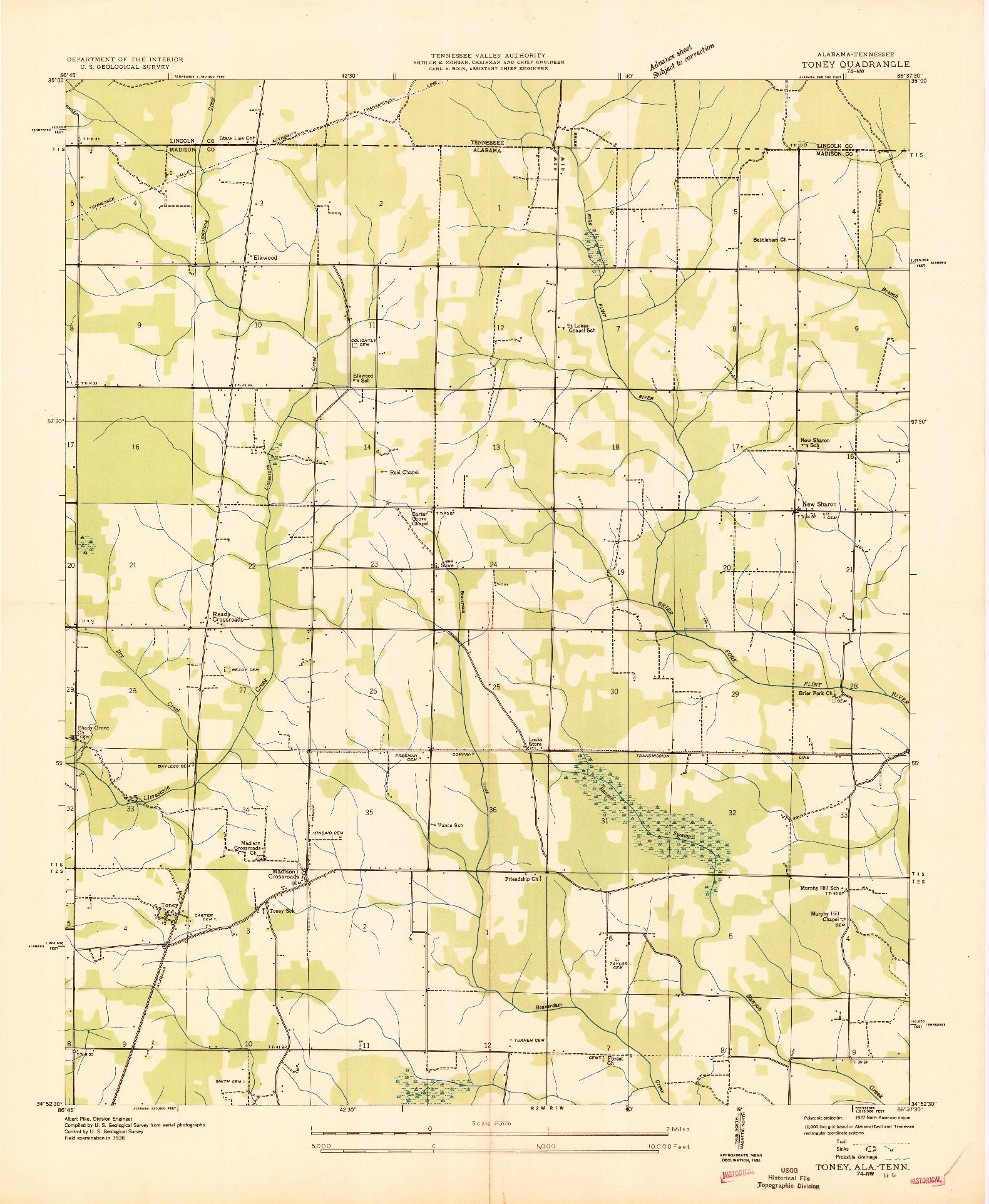USGS 1:24000-SCALE QUADRANGLE FOR TONEY, AL 1936