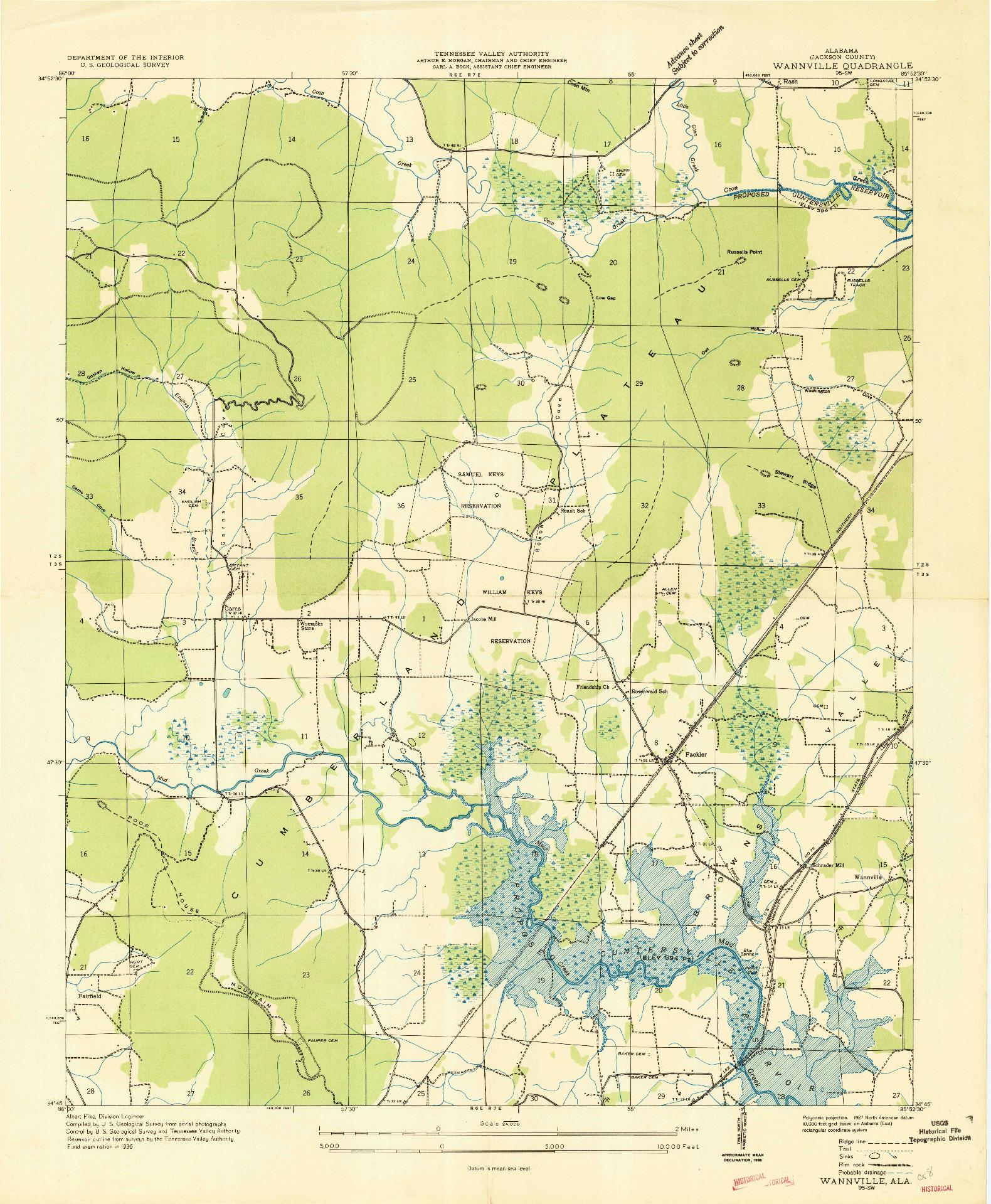 USGS 1:24000-SCALE QUADRANGLE FOR WANNVILLE, AL 1936