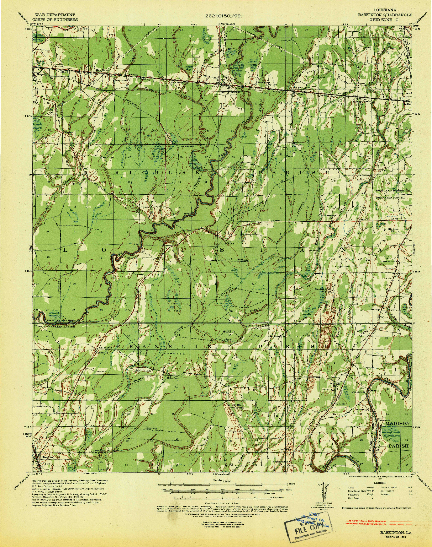 USGS 1:62500-SCALE QUADRANGLE FOR BASKINTON, LA 1935
