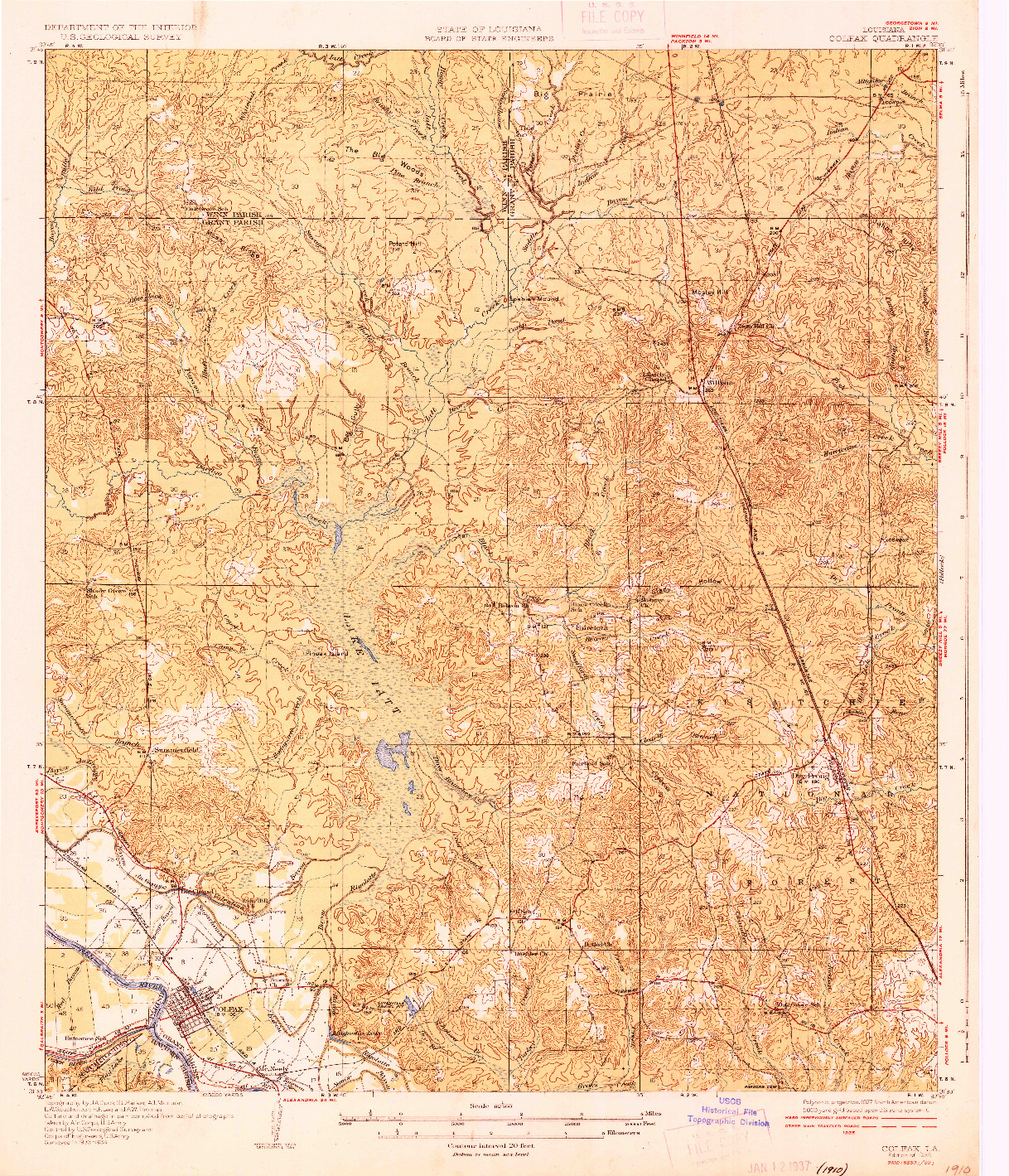 USGS 1:62500-SCALE QUADRANGLE FOR COLFAX, LA 1936