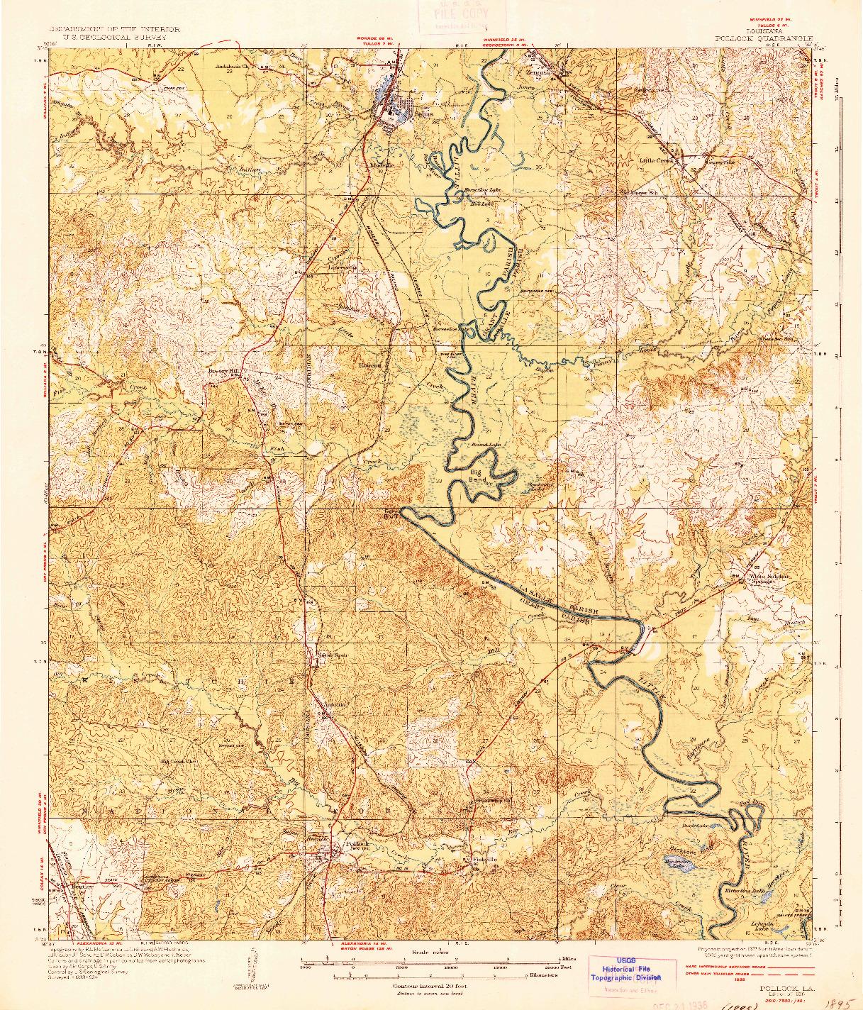 USGS 1:62500-SCALE QUADRANGLE FOR POLLOCK, LA 1936