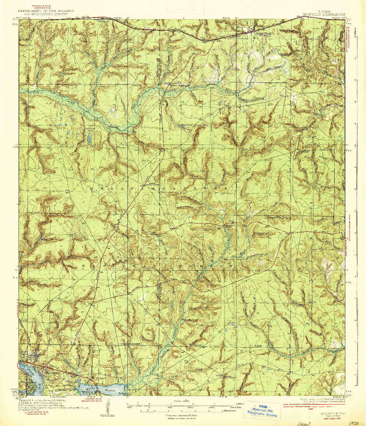USGS 1:62500-SCALE QUADRANGLE FOR NICEVILLE, FL 1936