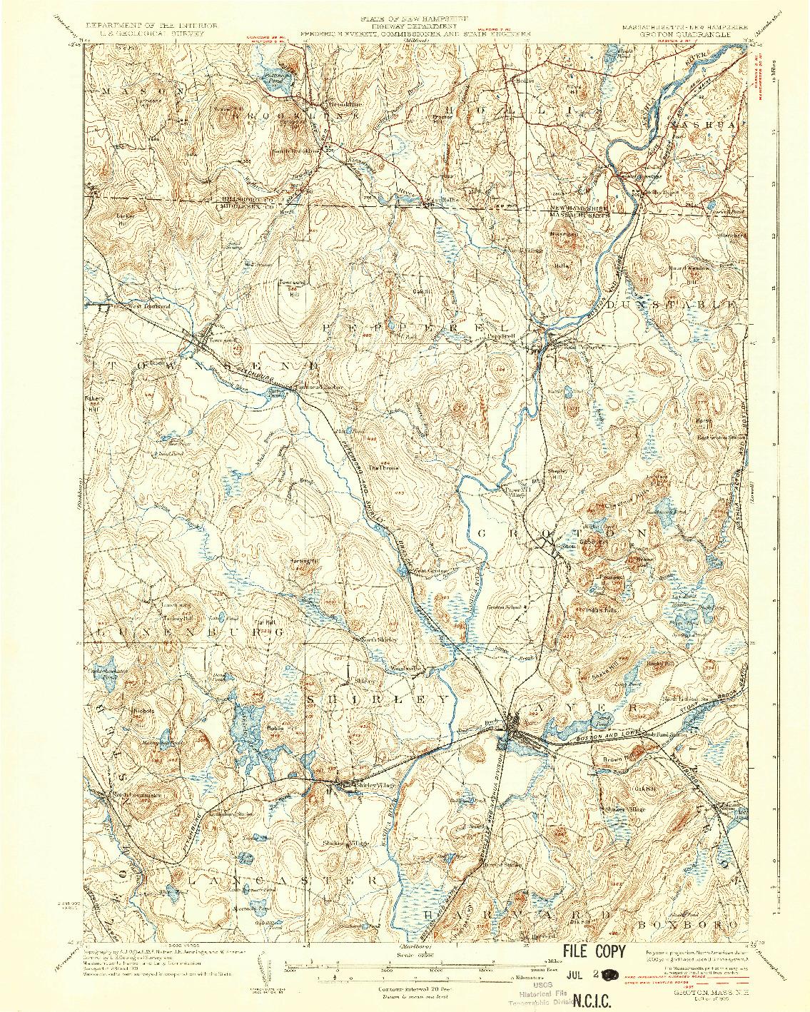 USGS 1:62500-SCALE QUADRANGLE FOR GROTON, MA 1936