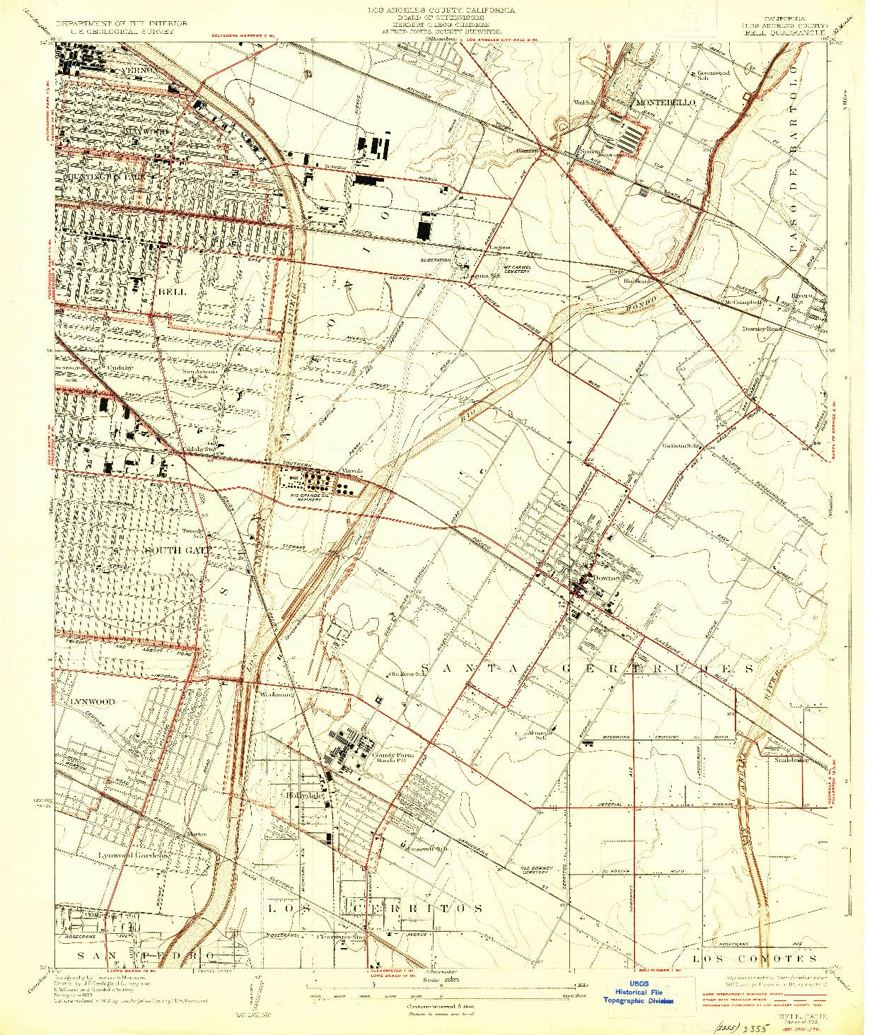 USGS 1:24000-SCALE QUADRANGLE FOR BELL, CA 1936