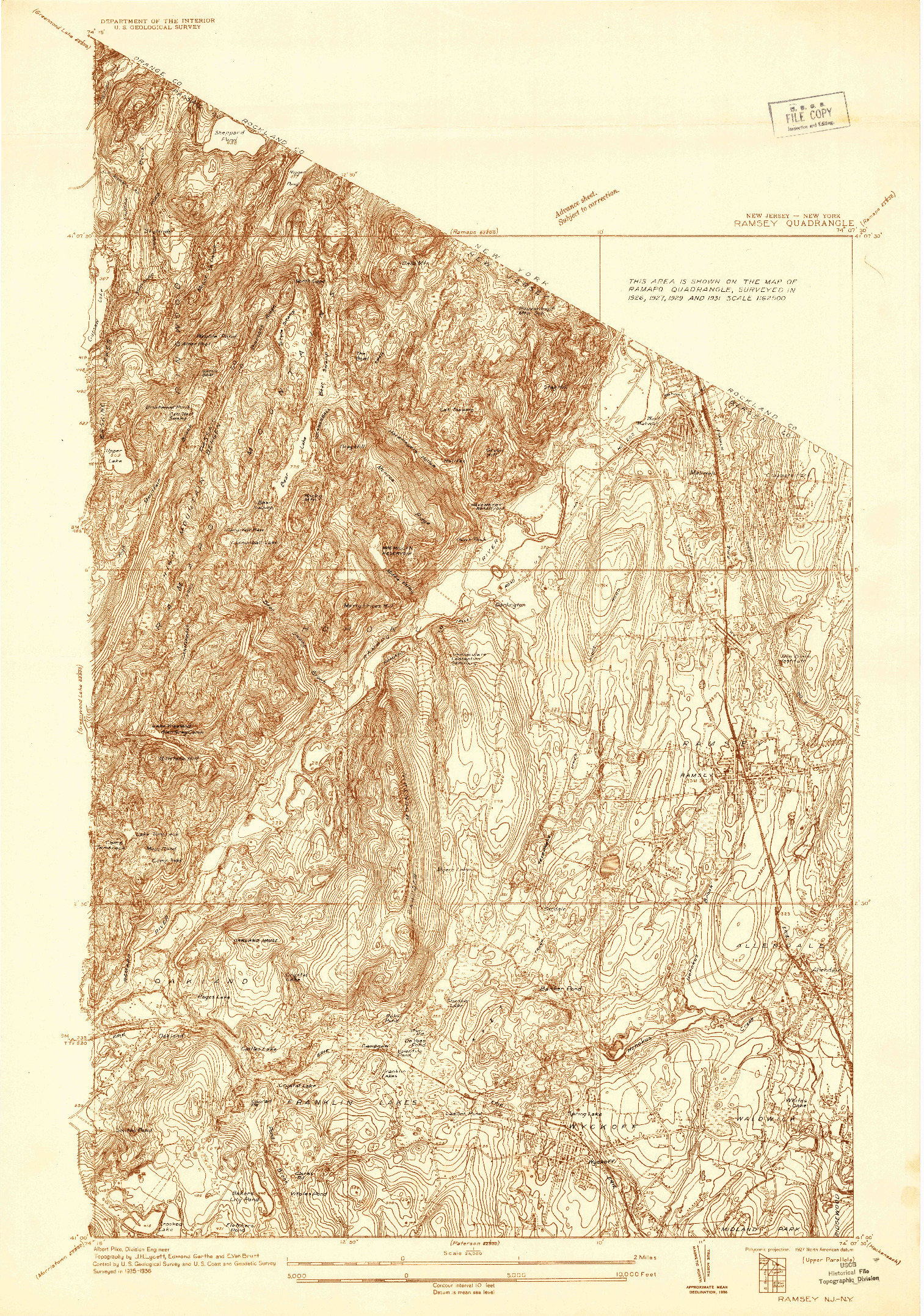 USGS 1:24000-SCALE QUADRANGLE FOR RAMSEY, NJ 1936