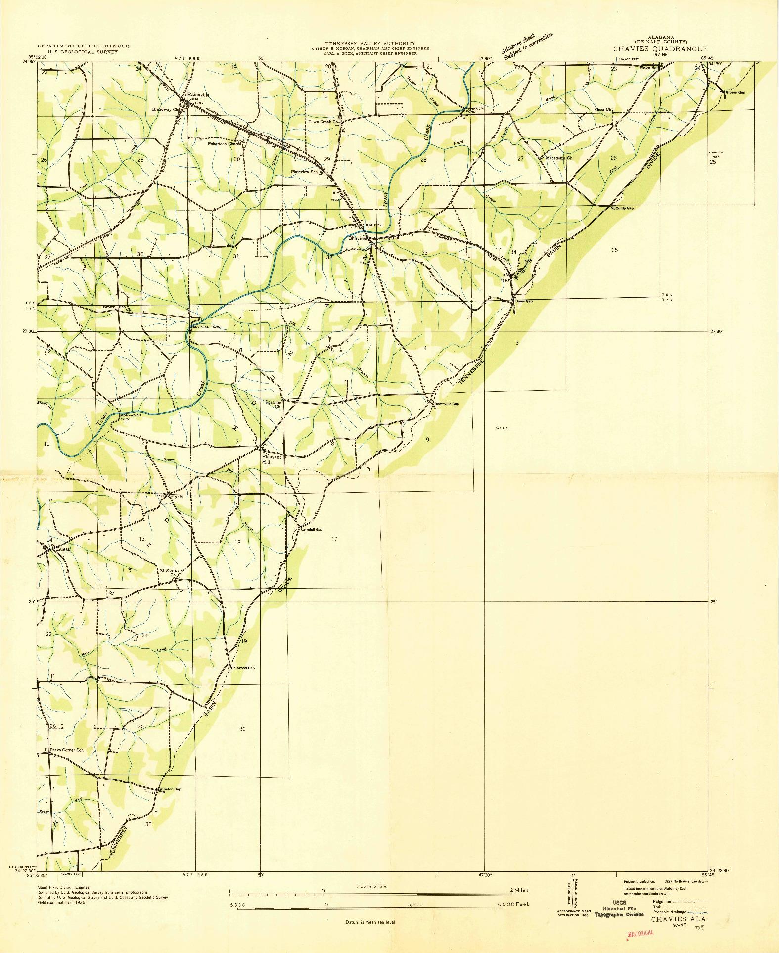 USGS 1:24000-SCALE QUADRANGLE FOR CHAVIES, AL 1936