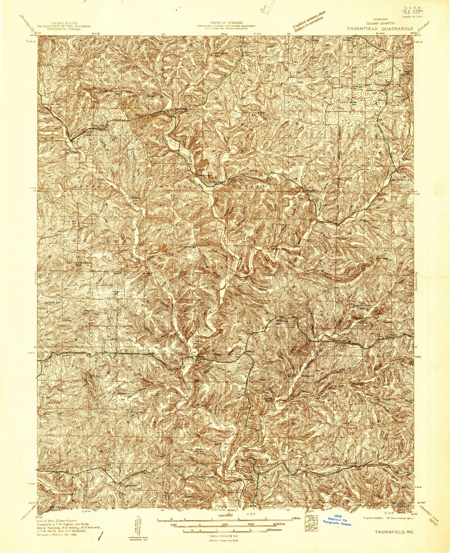 USGS 1:48000-SCALE QUADRANGLE FOR THORNFIELD, MO 1936