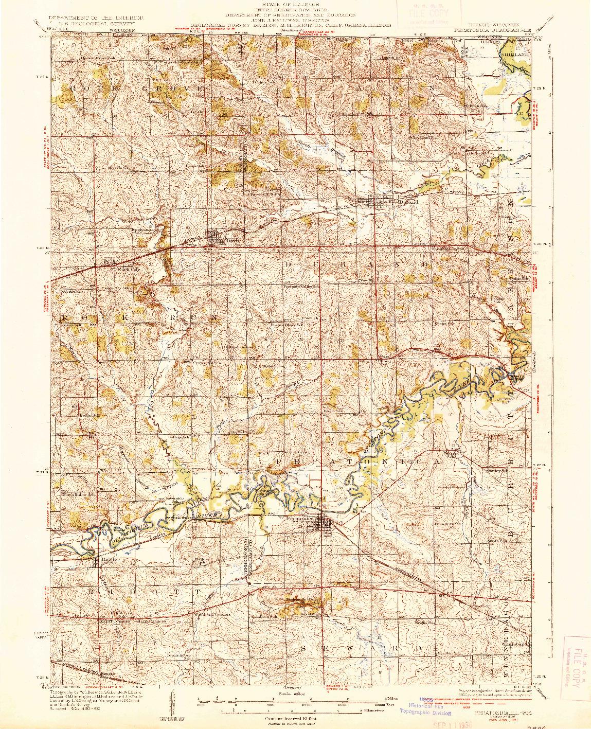USGS 1:62500-SCALE QUADRANGLE FOR PECATONICA, IL 1936