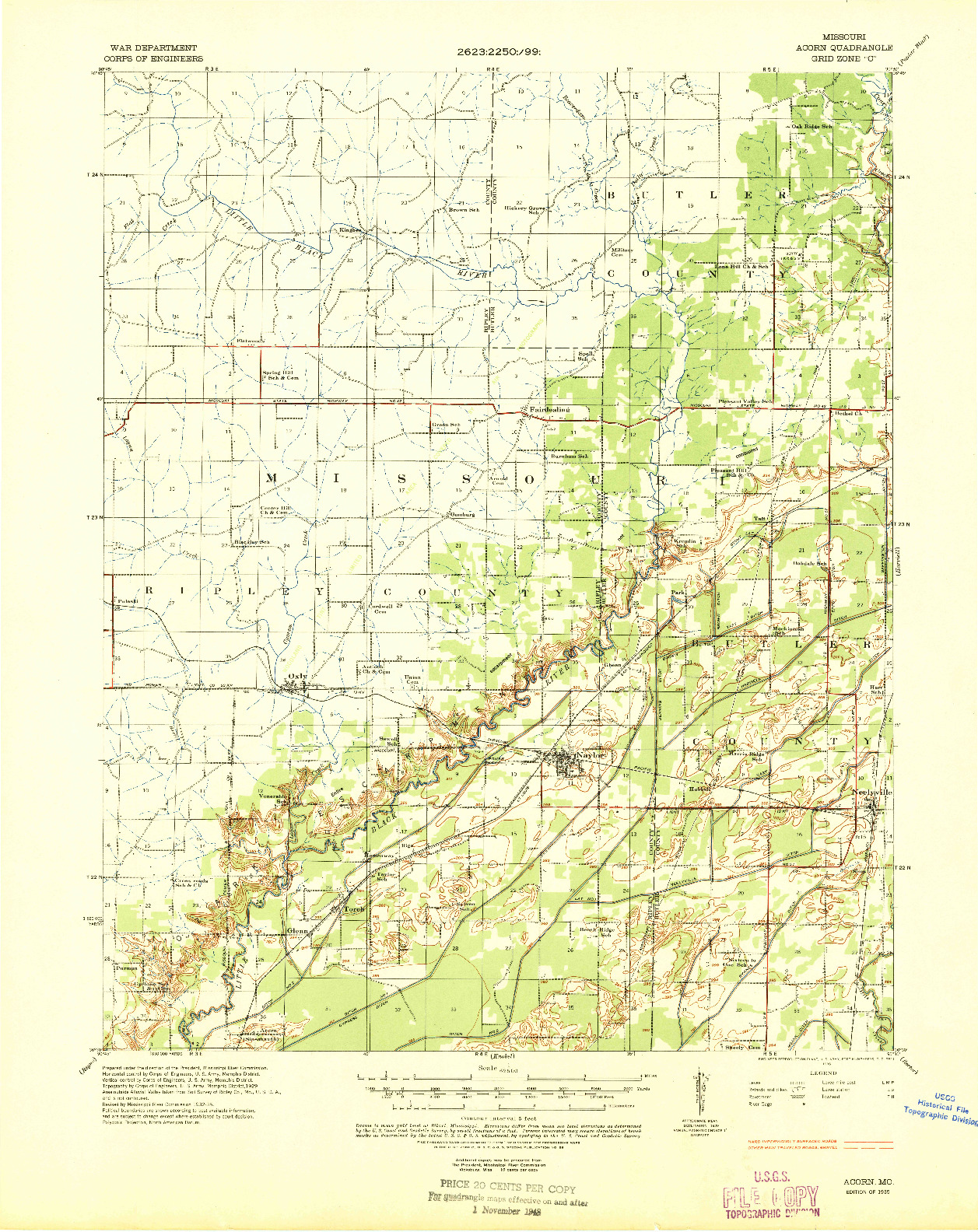 USGS 1:62500-SCALE QUADRANGLE FOR ACORN, MO 1935