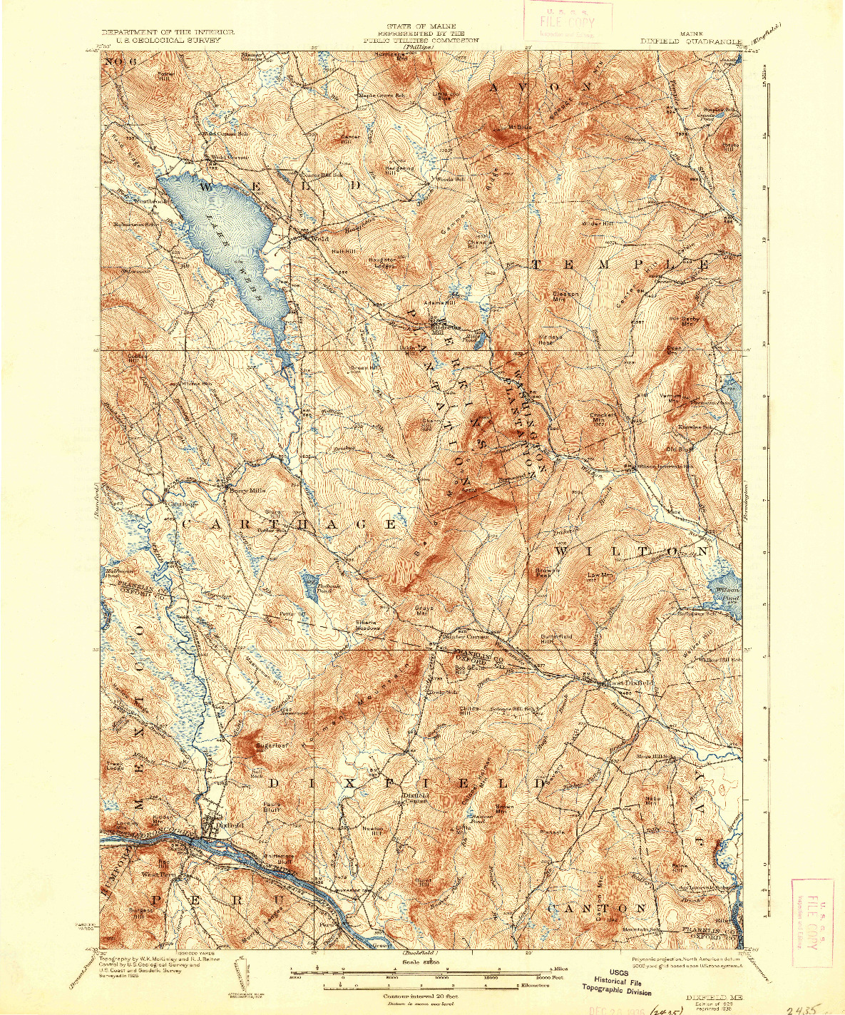 USGS 1:62500-SCALE QUADRANGLE FOR DIXFIELD, ME 1929