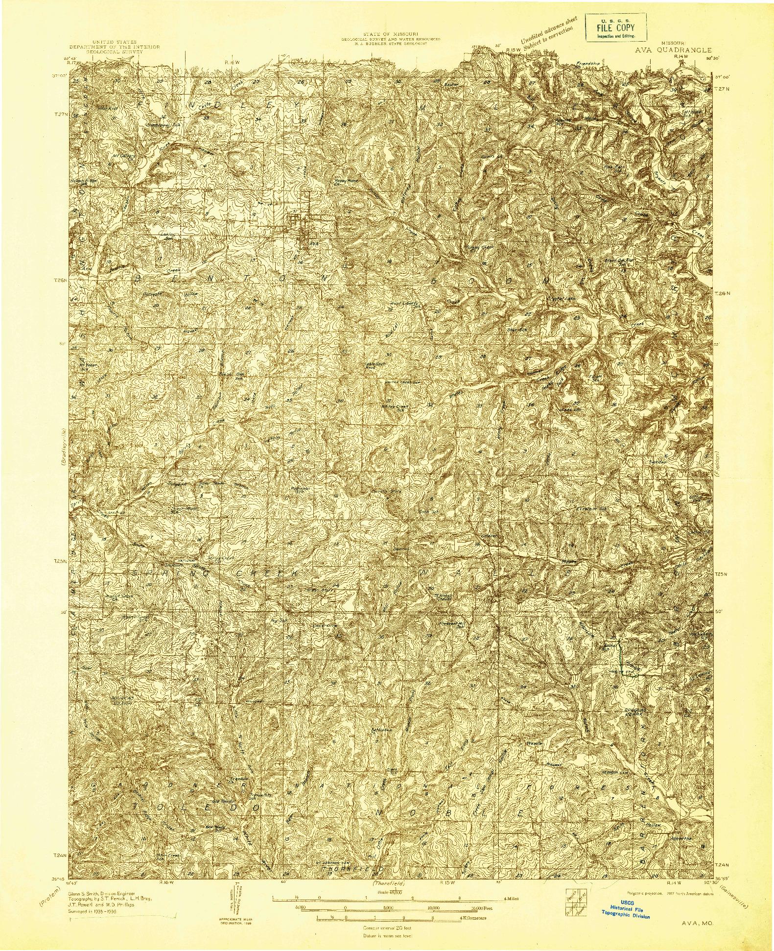 USGS 1:48000-SCALE QUADRANGLE FOR AVA, MO 1936