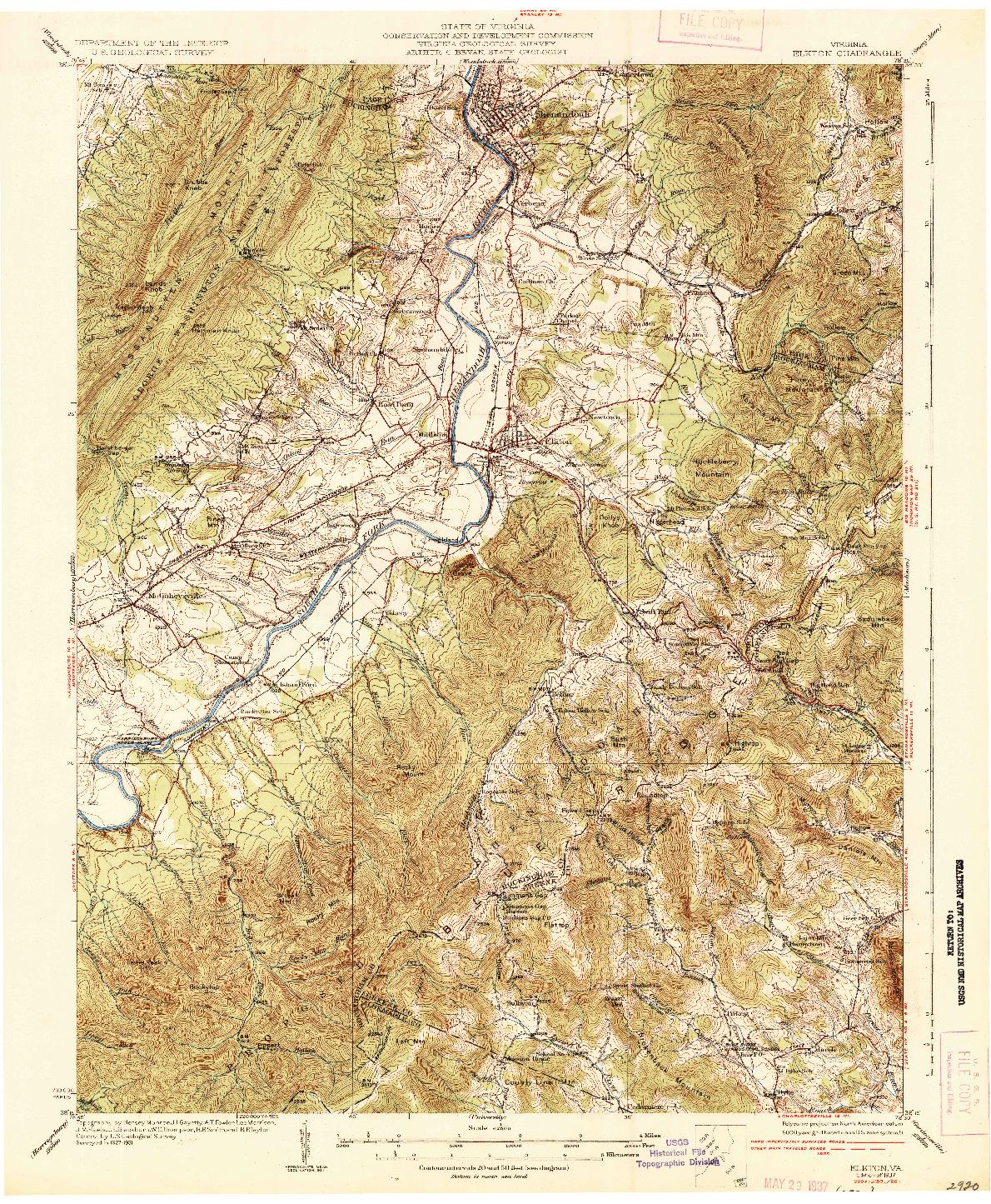 USGS 1:62500-SCALE QUADRANGLE FOR ELKTON, VA 1937