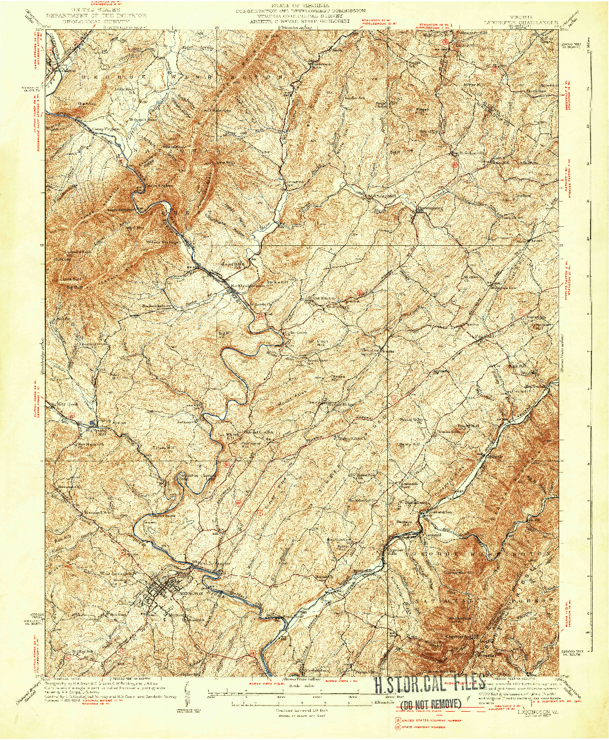 USGS 1:62500-SCALE QUADRANGLE FOR LEXINGTON, VA 1937
