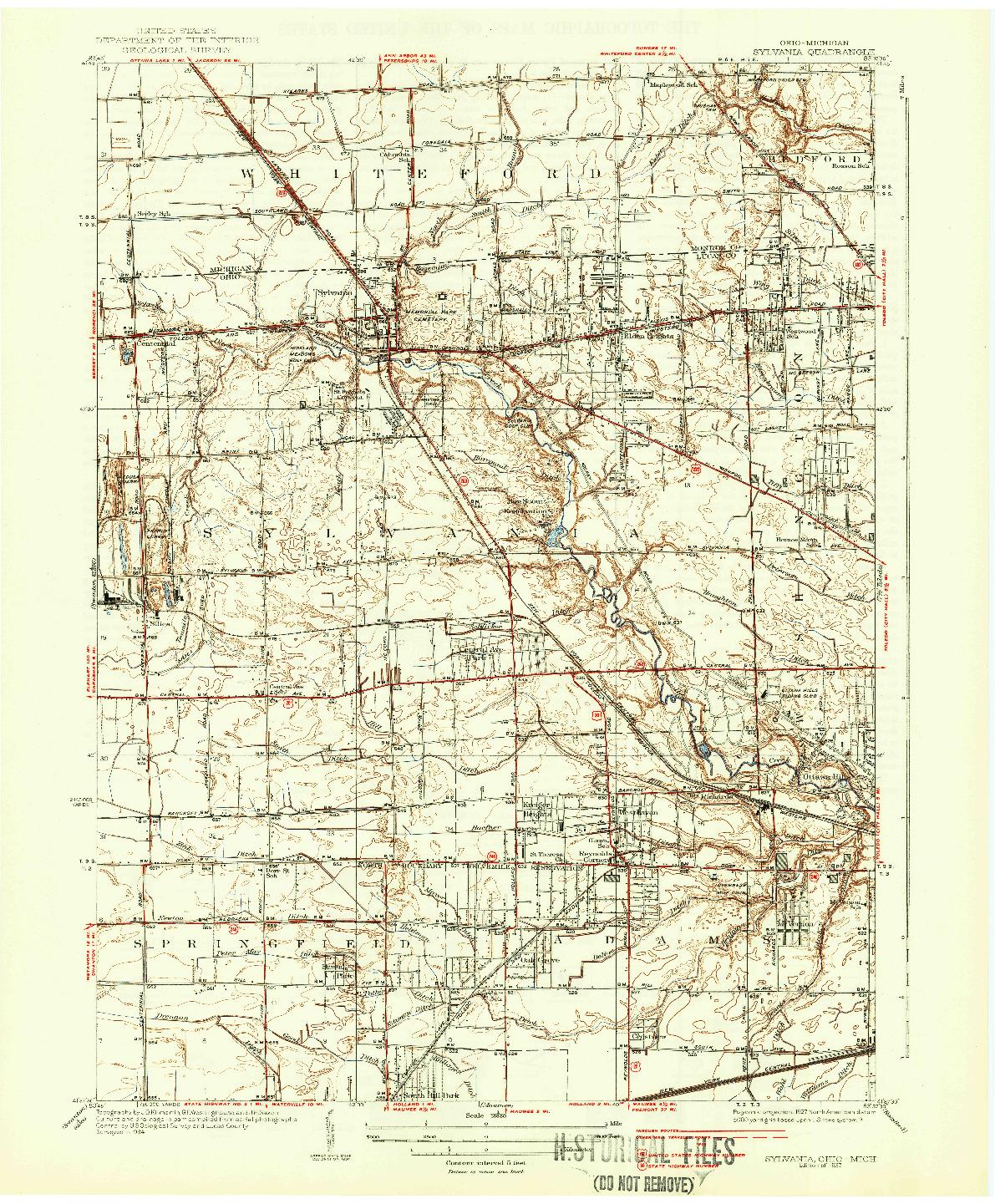 USGS 1:31680-SCALE QUADRANGLE FOR SYLVANIA, OH 1937