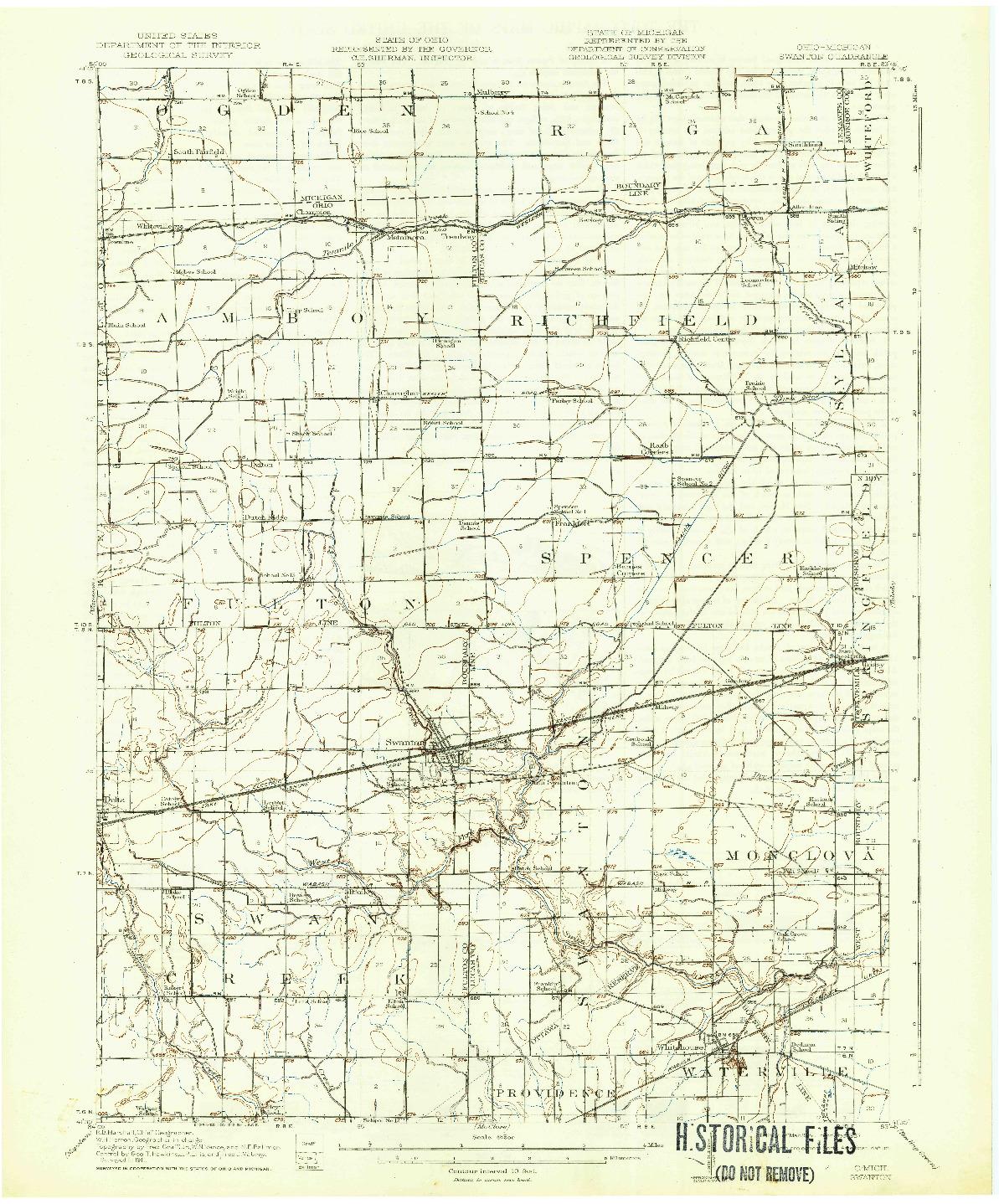 USGS 1:62500-SCALE QUADRANGLE FOR SWANTON, OH 1914
