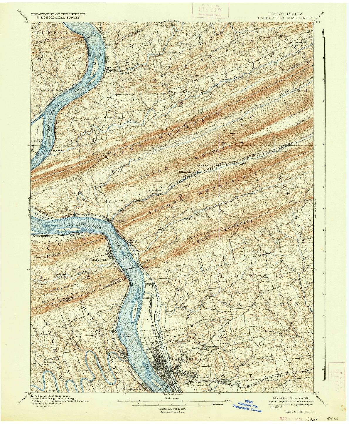 USGS 1:62500-SCALE QUADRANGLE FOR HARRISBURG, PA 1899