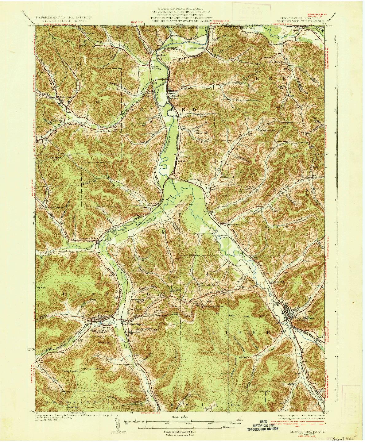 USGS 1:62500-SCALE QUADRANGLE FOR SMETHPORT, PA 1937