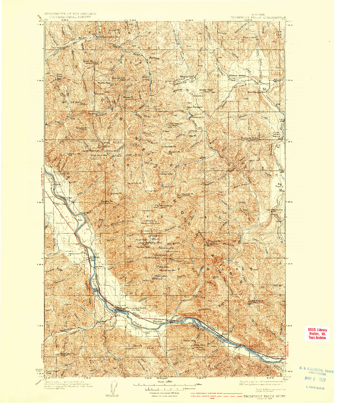 USGS 1:125000-SCALE QUADRANGLE FOR THOMPSON FALLS, MT 1937