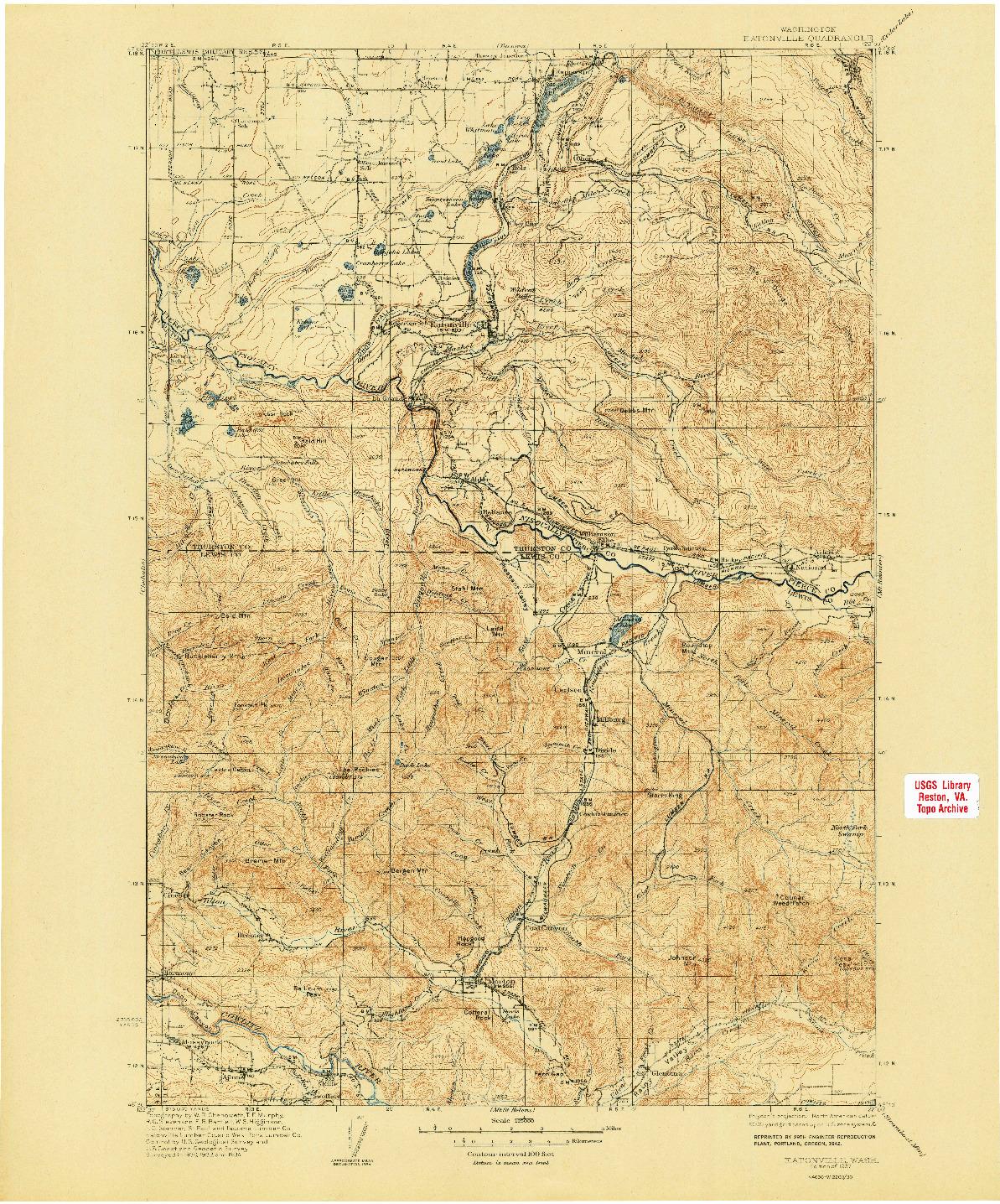 USGS 1:125000-SCALE QUADRANGLE FOR EATONVILLE, WA 1937