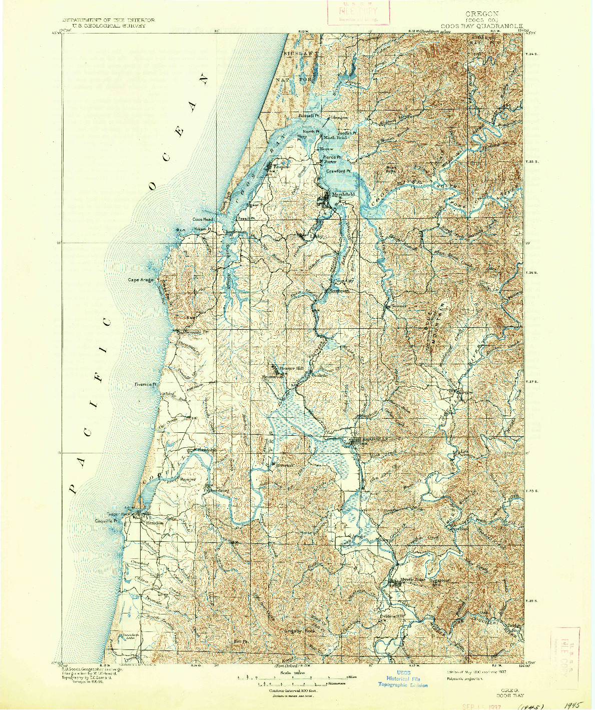 USGS 1:125000-SCALE QUADRANGLE FOR COOS BAY, OR 1900