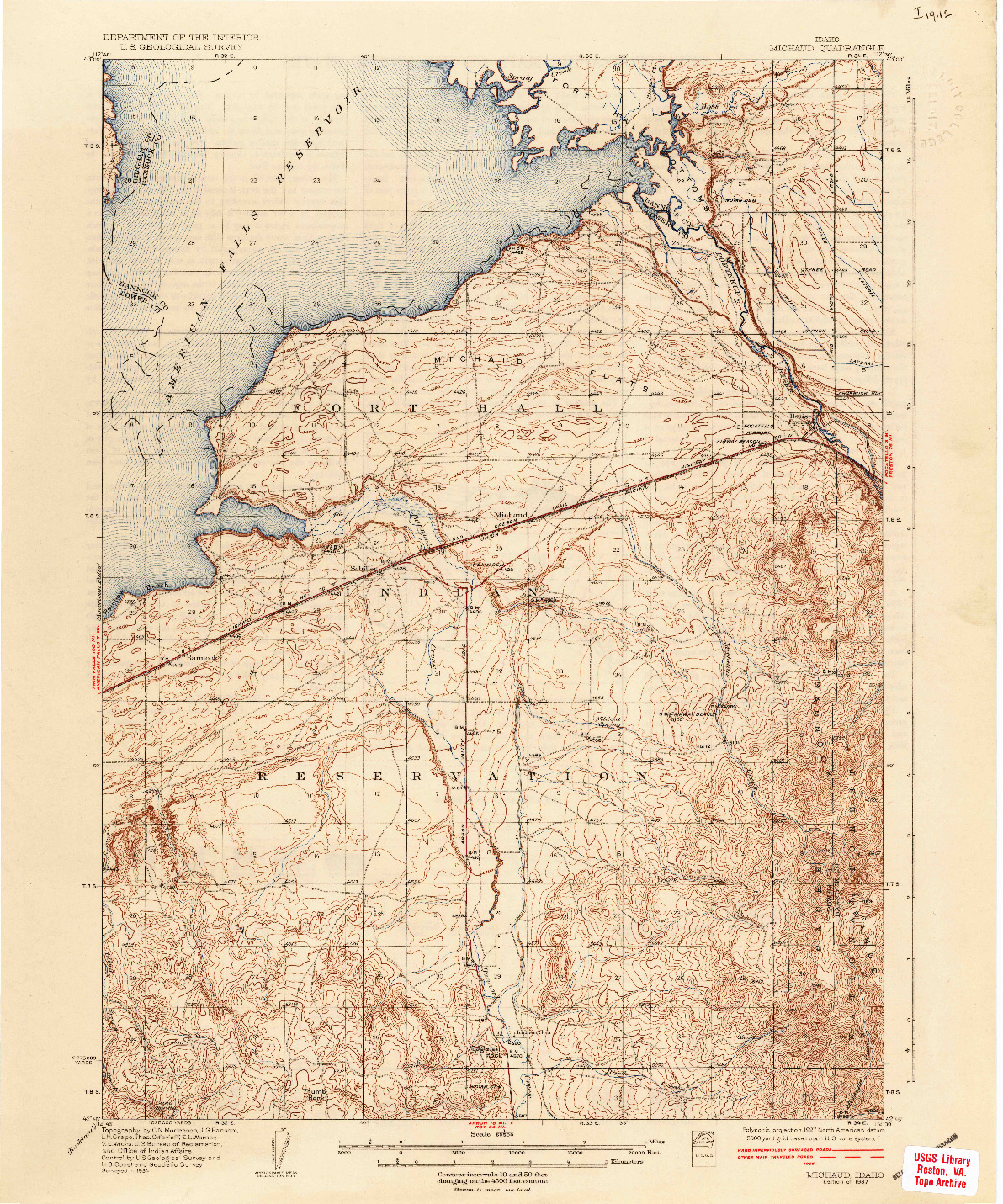 USGS 1:62500-SCALE QUADRANGLE FOR MICHAUD, ID 1937