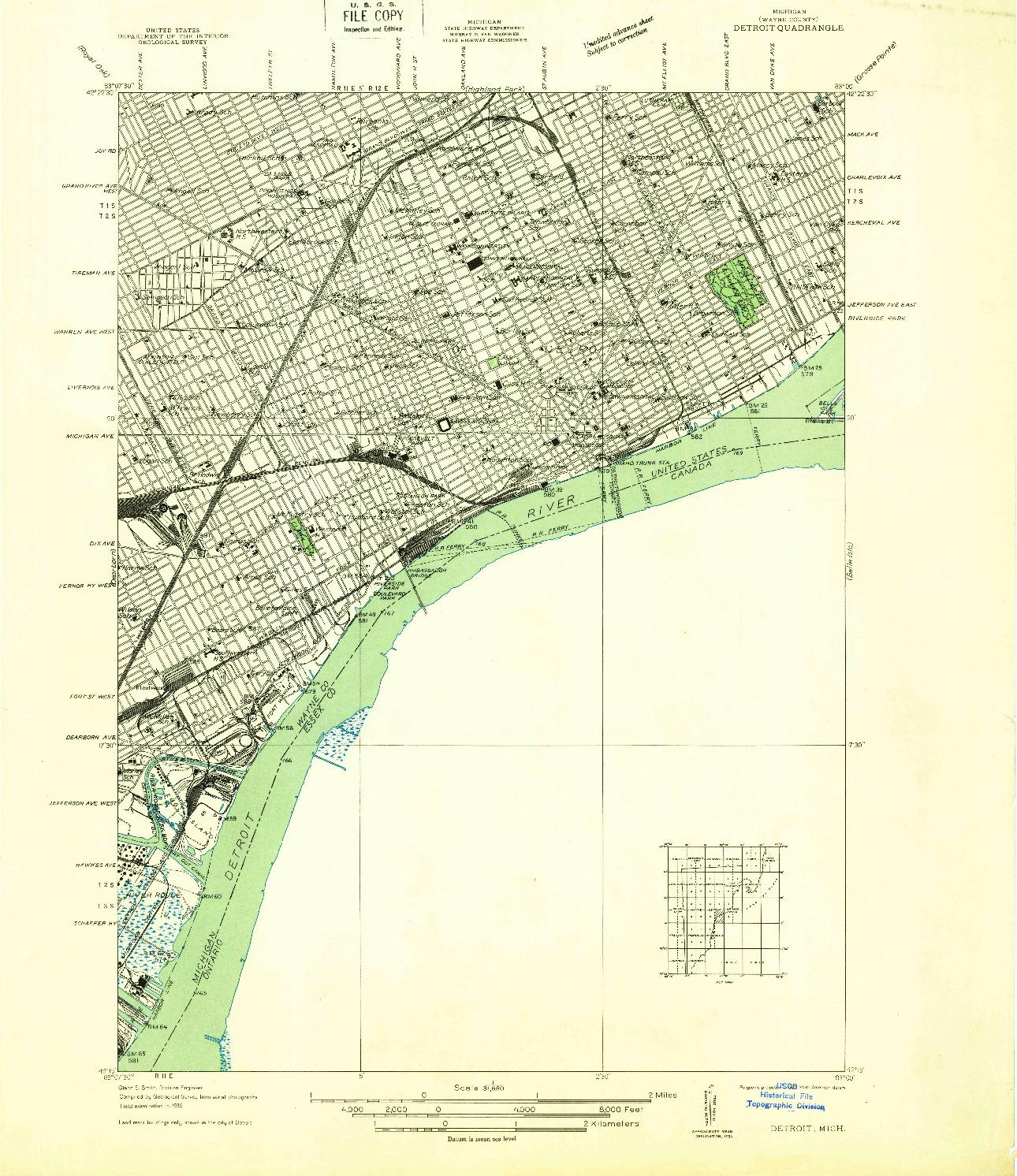 USGS 1:31680-SCALE QUADRANGLE FOR DETROIT, MI 1937