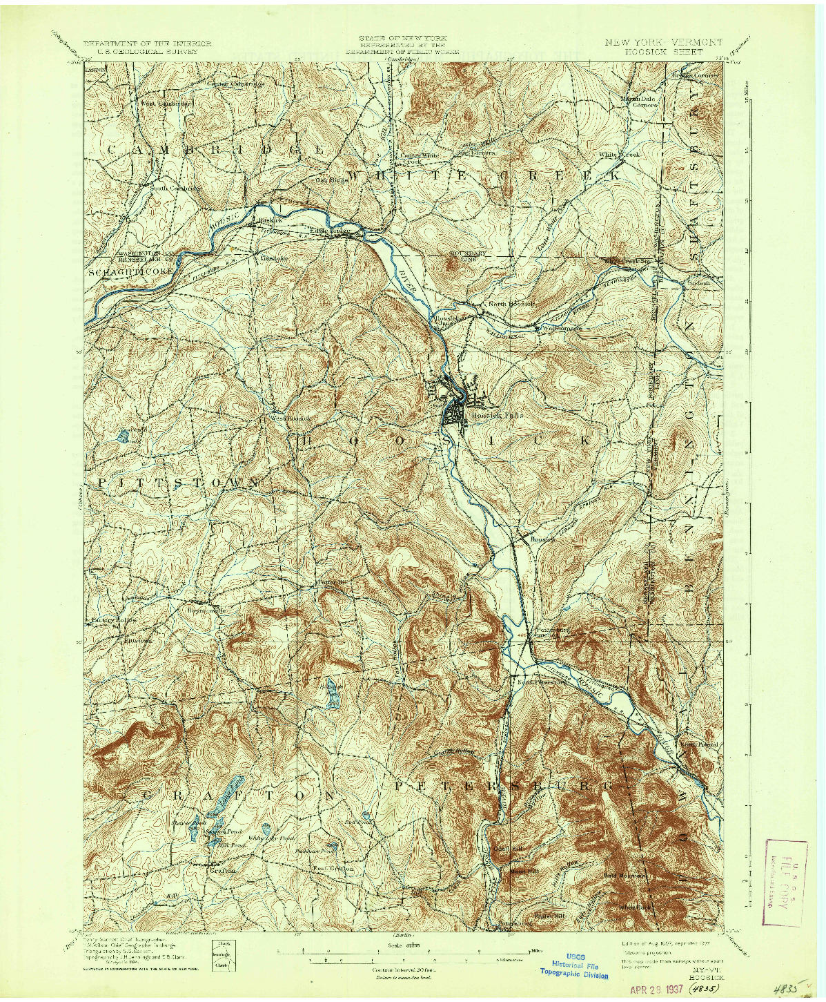 USGS 1:62500-SCALE QUADRANGLE FOR HOOSICK, NY 1897
