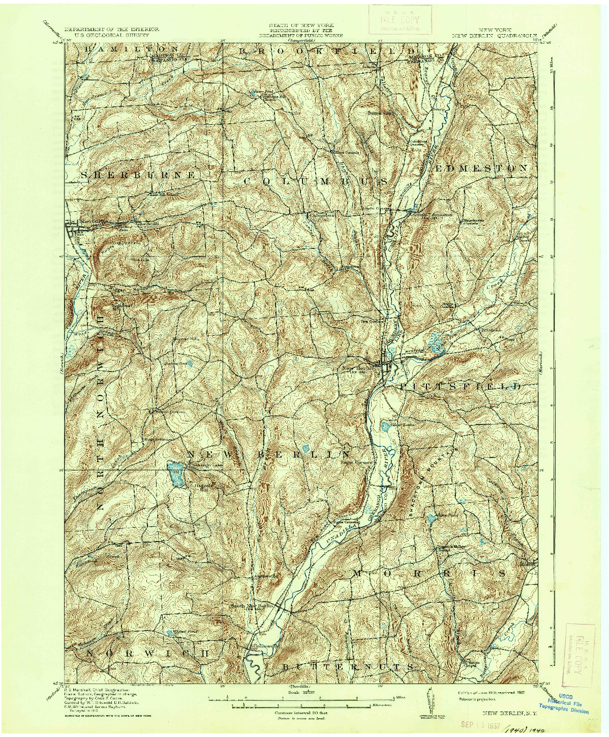 USGS 1:62500-SCALE QUADRANGLE FOR NEW BERLIN, NY 1912