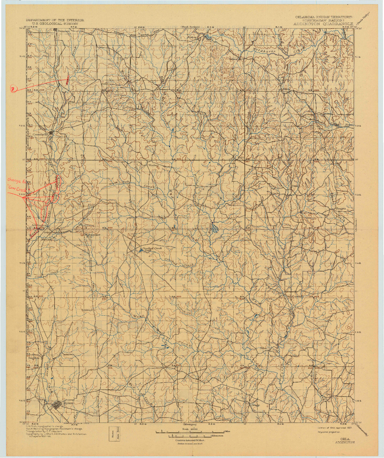 USGS 1:125000-SCALE QUADRANGLE FOR ADDINGTON, OK 1901