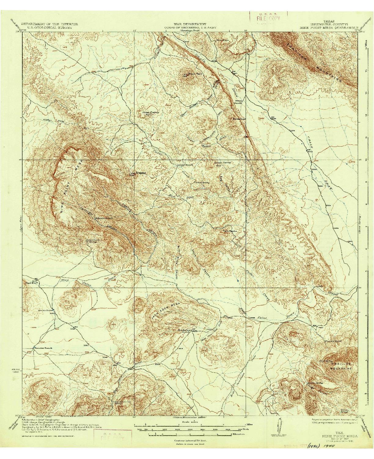 USGS 1:62500-SCALE QUADRANGLE FOR NINE POINT MESA, TX 1937