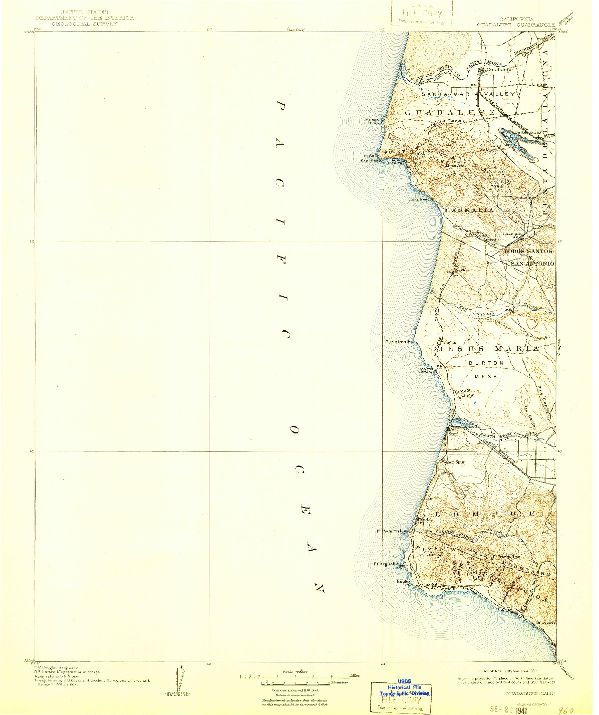 USGS 1:125000-SCALE QUADRANGLE FOR GUADALUPE, CA 1905