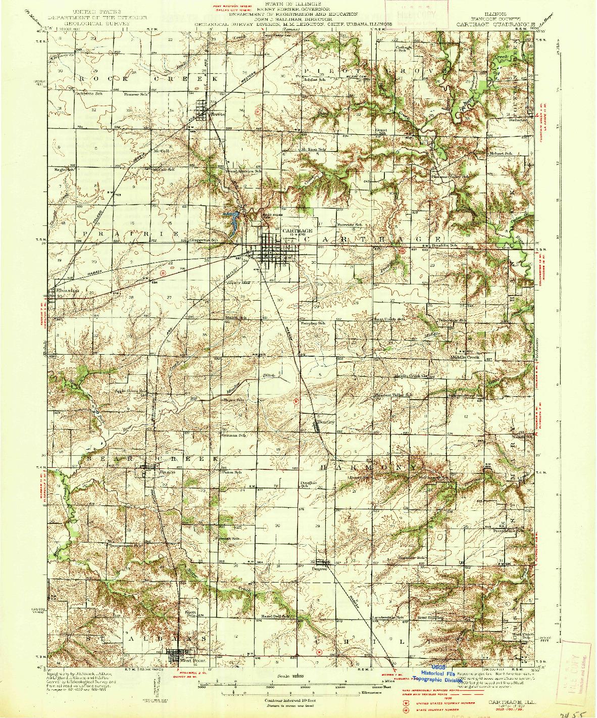 USGS 1:62500-SCALE QUADRANGLE FOR CARTHAGE, IL 1937