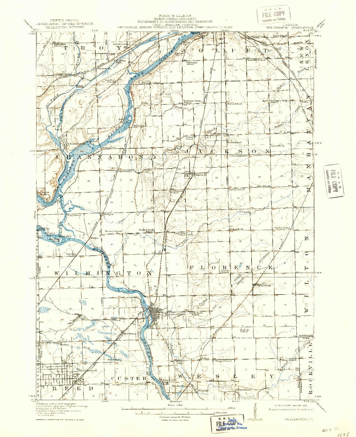 USGS 1:62500-SCALE QUADRANGLE FOR WILMINGTON, IL 1918