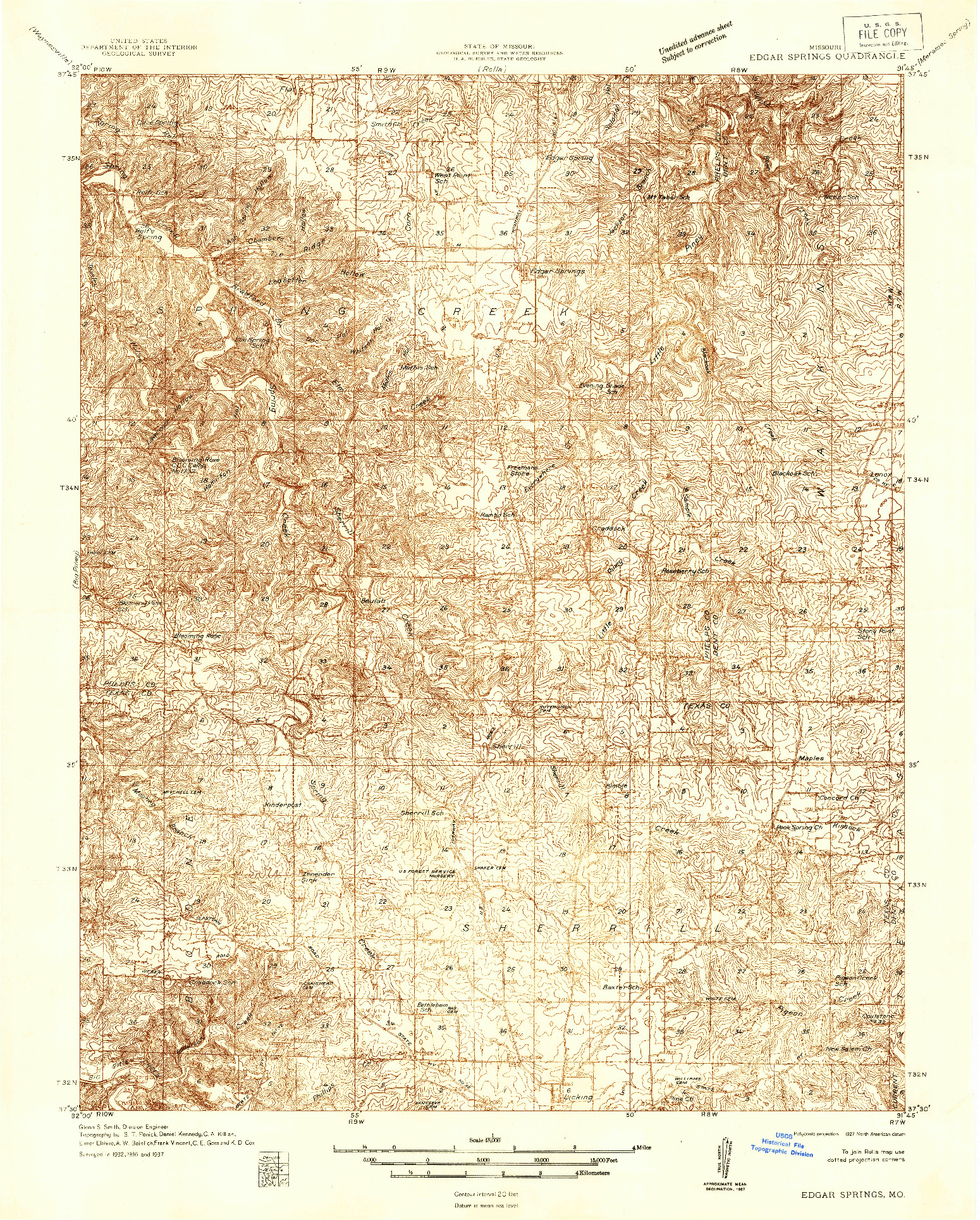 USGS 1:48000-SCALE QUADRANGLE FOR EDGAR SPRINGS, MO 1937