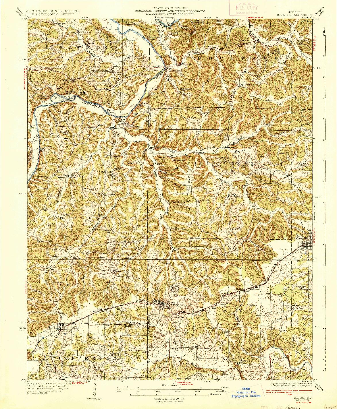 USGS 1:62500-SCALE QUADRANGLE FOR BLAND, MO 1937
