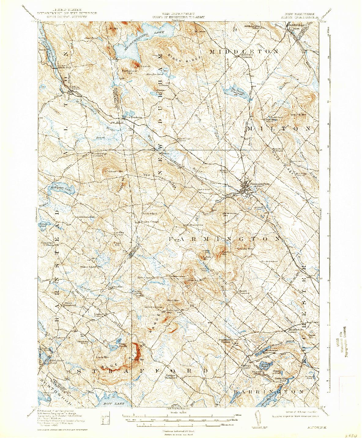 USGS 1:62500-SCALE QUADRANGLE FOR ALTON, NH 1919