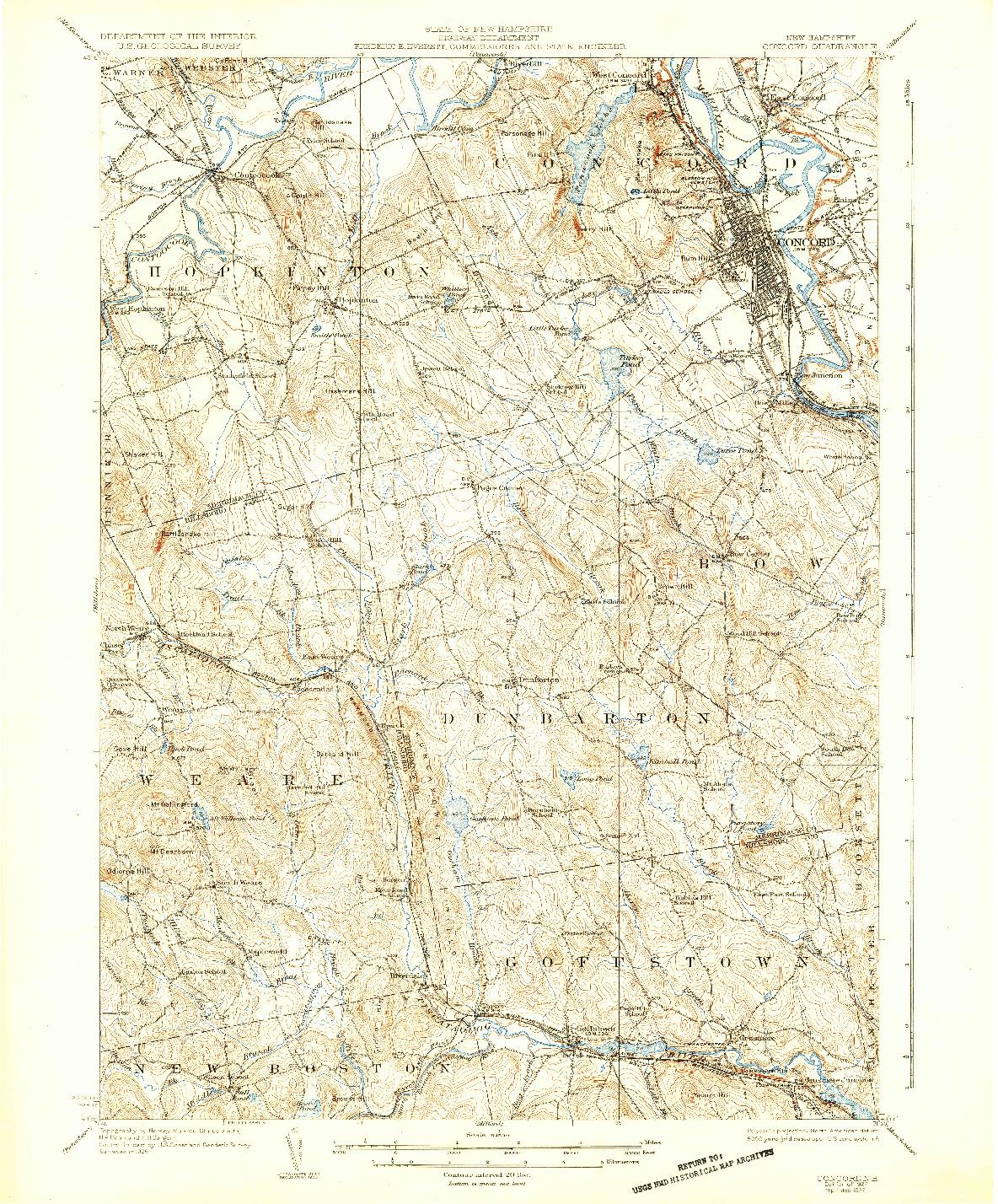 USGS 1:62500-SCALE QUADRANGLE FOR CONCORD, NH 1927