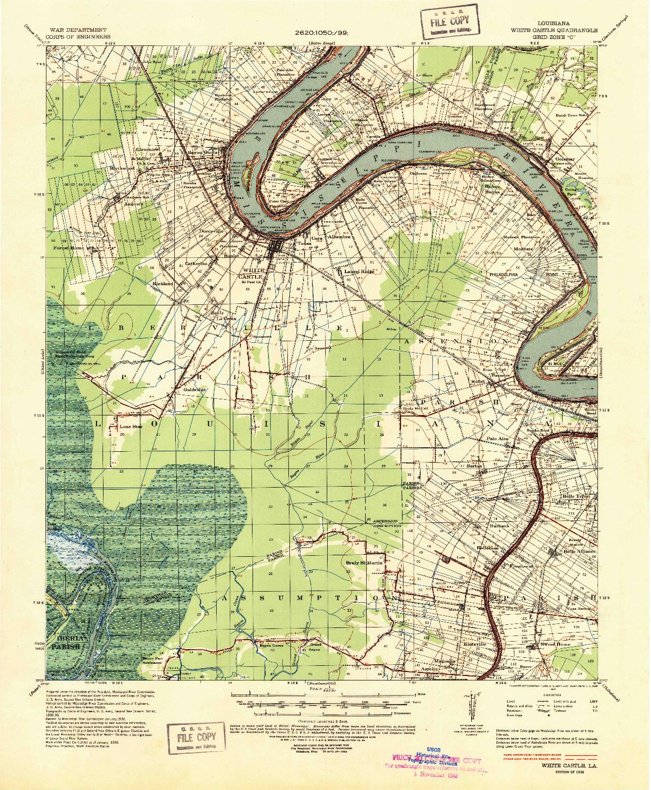 USGS 1:62500-SCALE QUADRANGLE FOR WHITE CASTLE, LA 1936